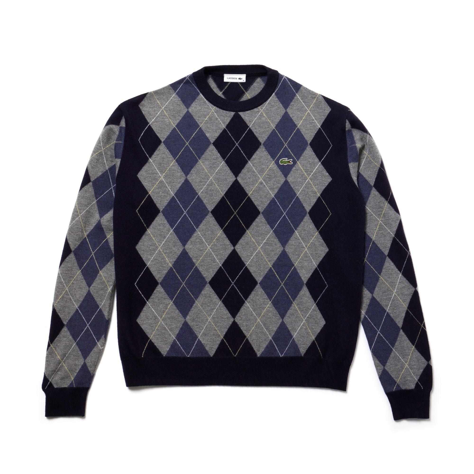 [패션쇼] 남녀 공용 아가일 양모 자카드 스웨터