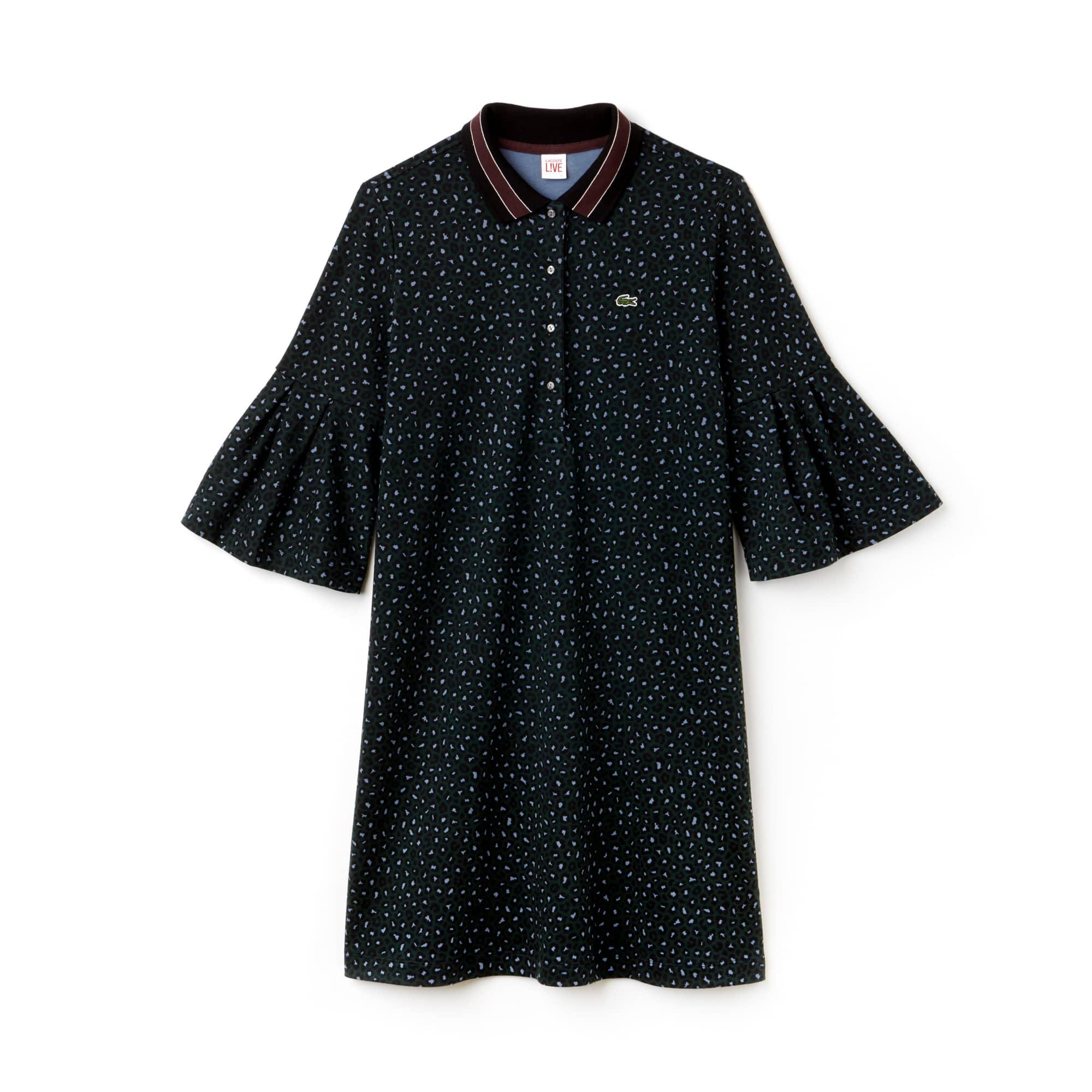女士Lacoste LIVE豹纹印花双罗纹polo连衣裙
