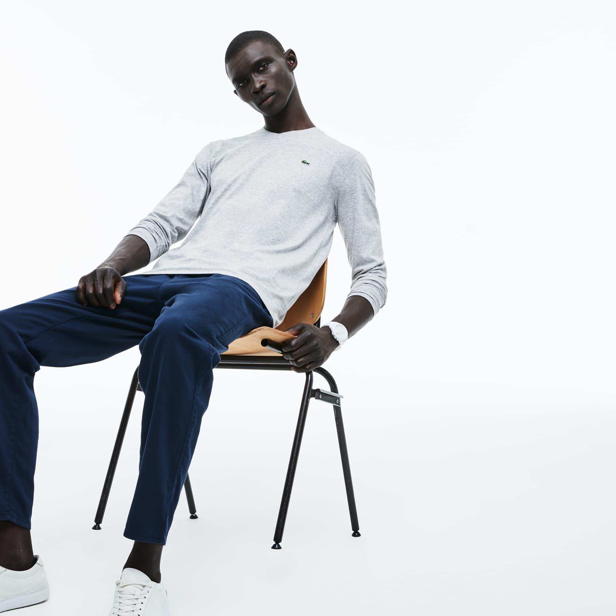 男士纯色棉质长袖T恤
