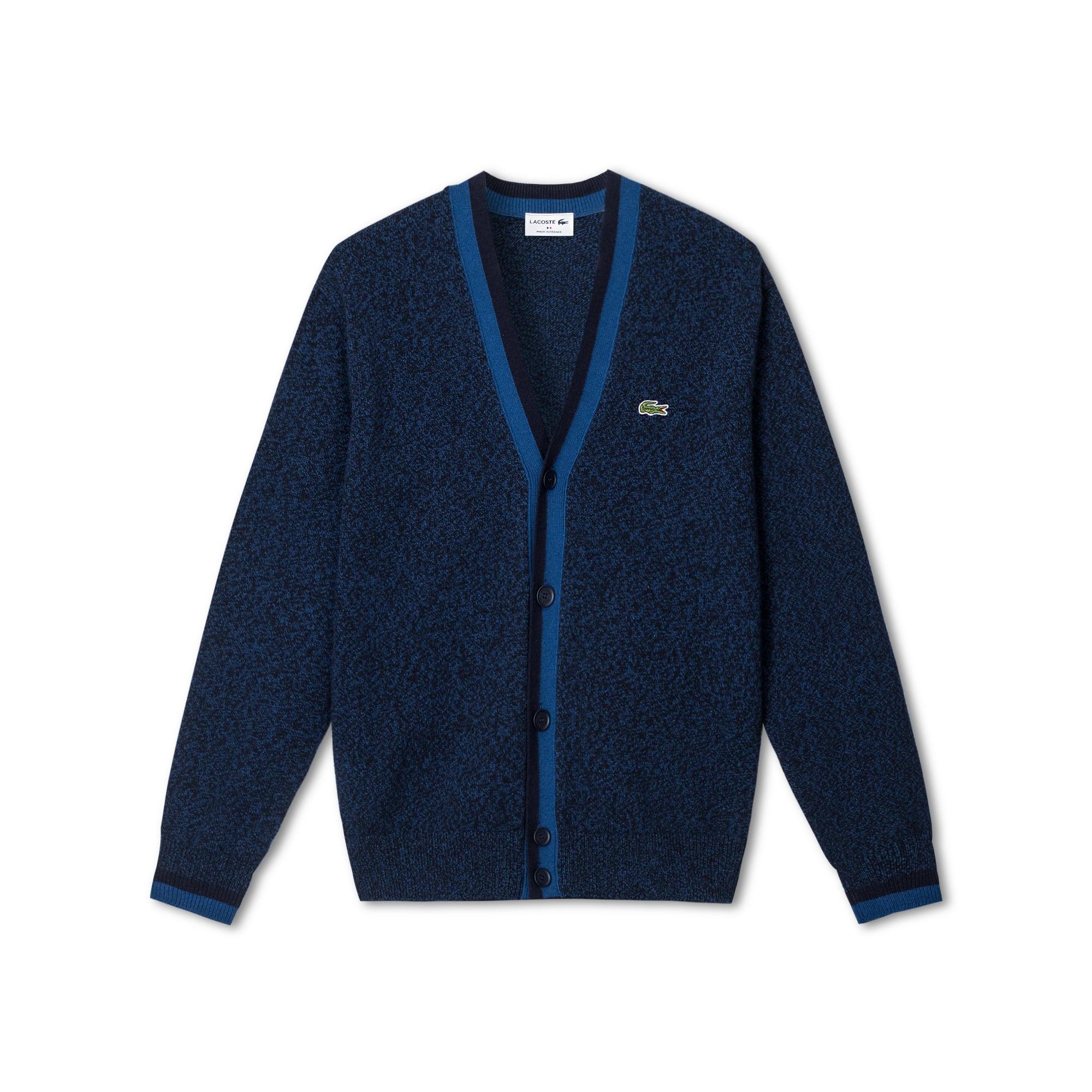 法国制造撞色装饰平纹针织面料男士开襟羊毛衫