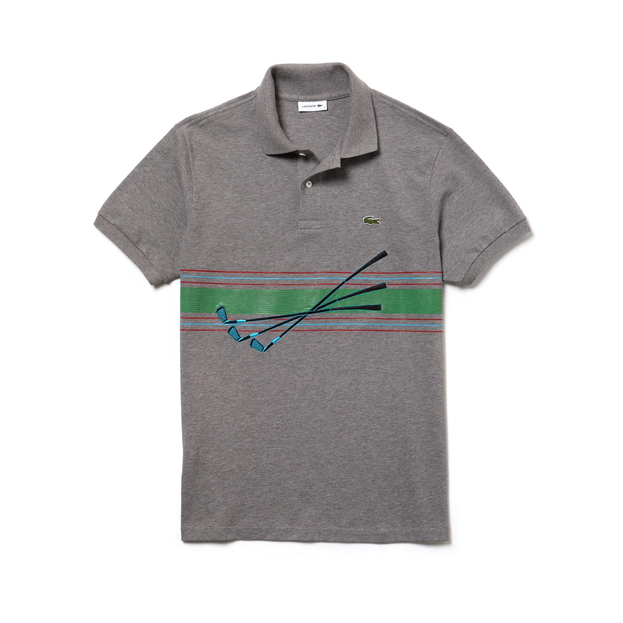 男士Lacoste走秀款刺绣棉质凸纹网眼面料Polo衫
