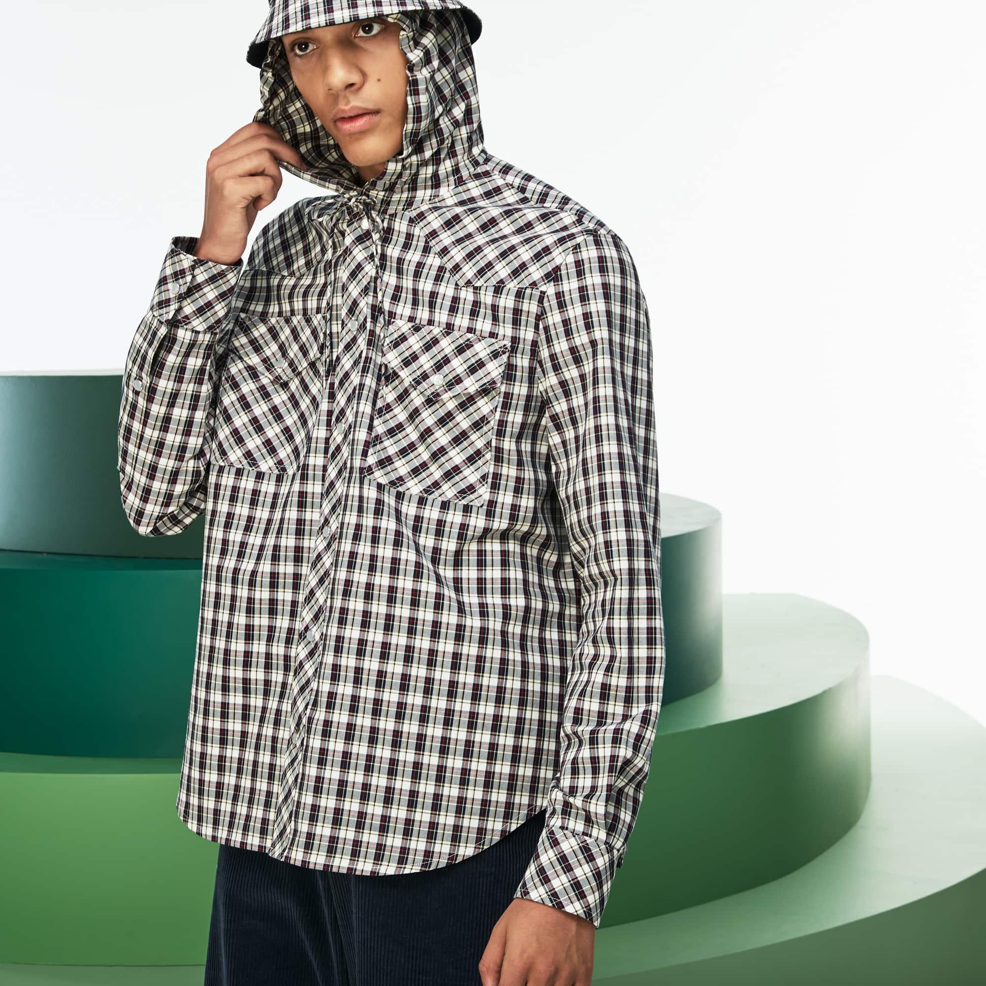 男士走秀款连帽格纹府绸衬衫