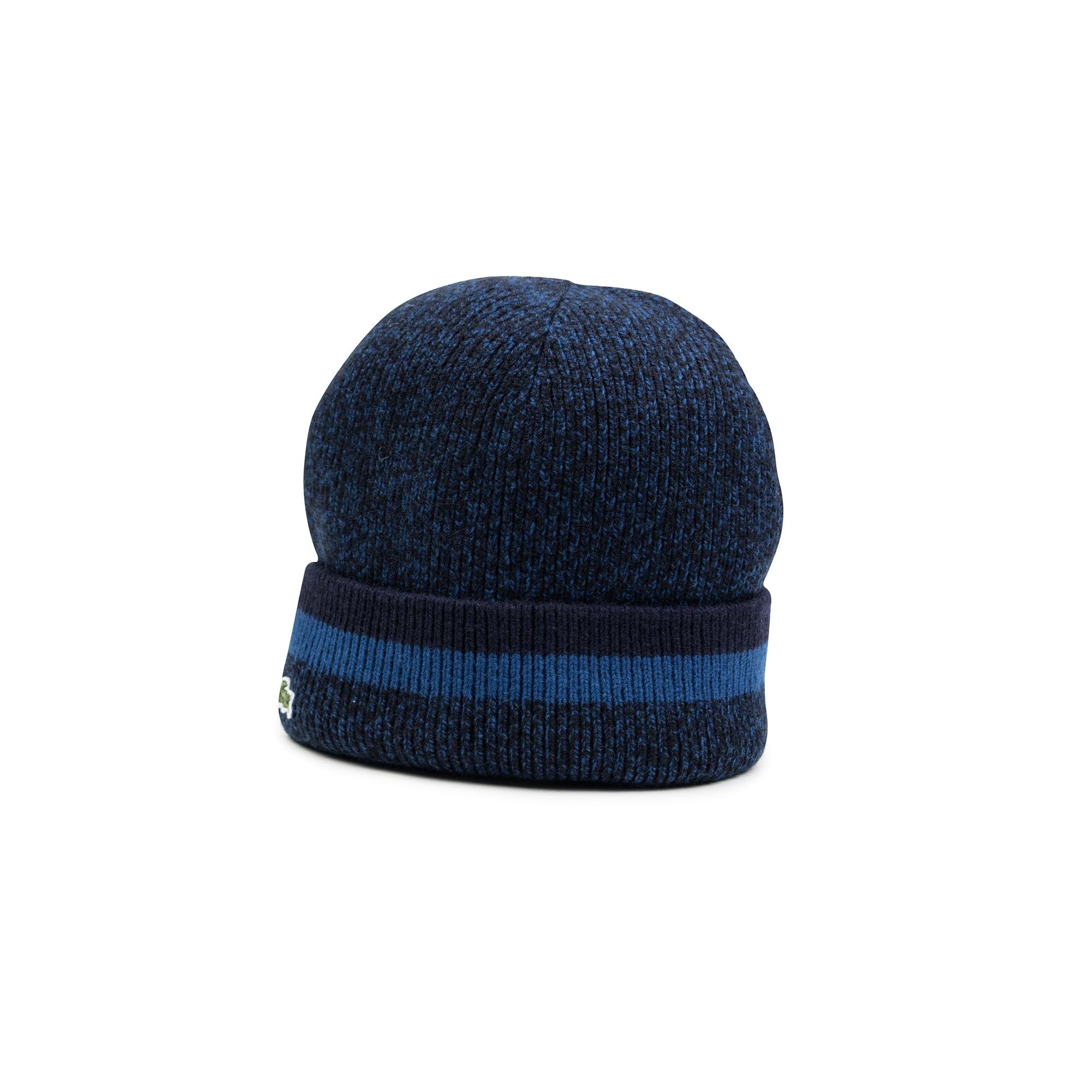 男士法国制造卷边罗纹羊毛帽