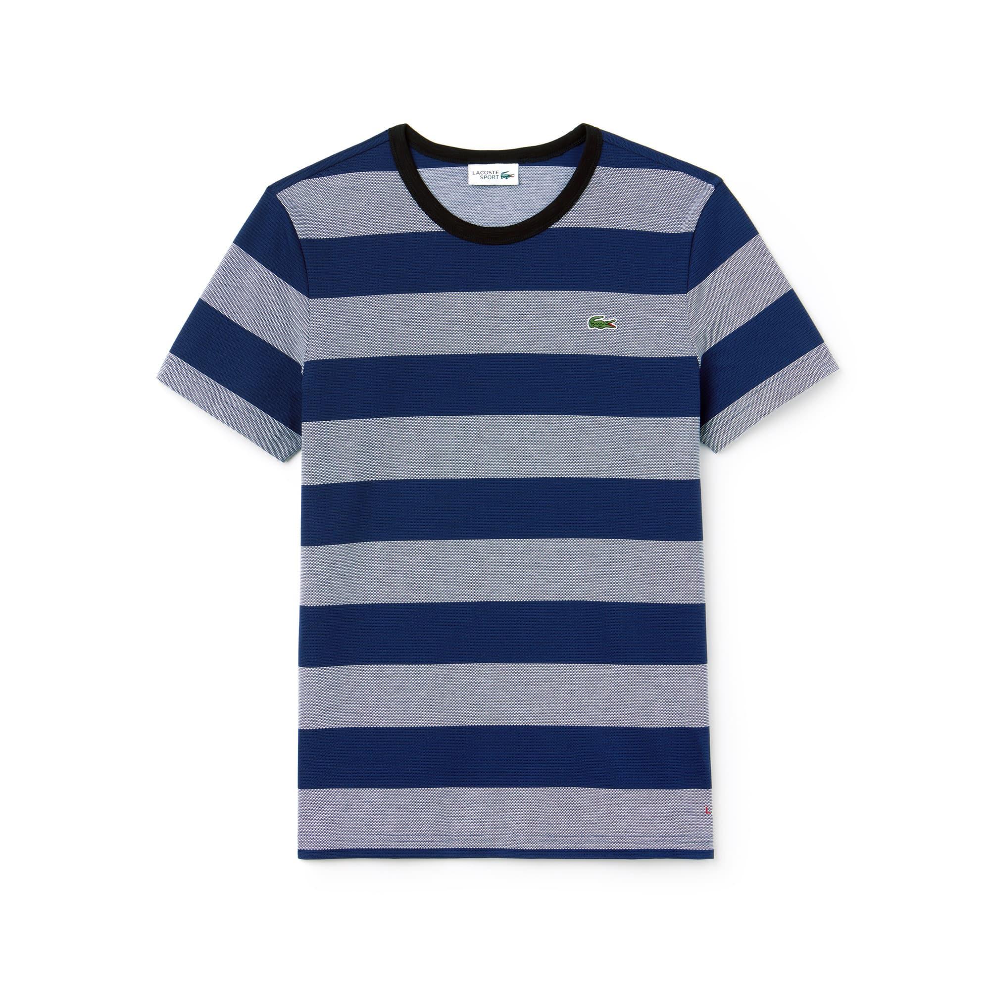 (남성) 라코스테 스포츠 크루넥 캐비어 코튼 스트라이프 티셔츠