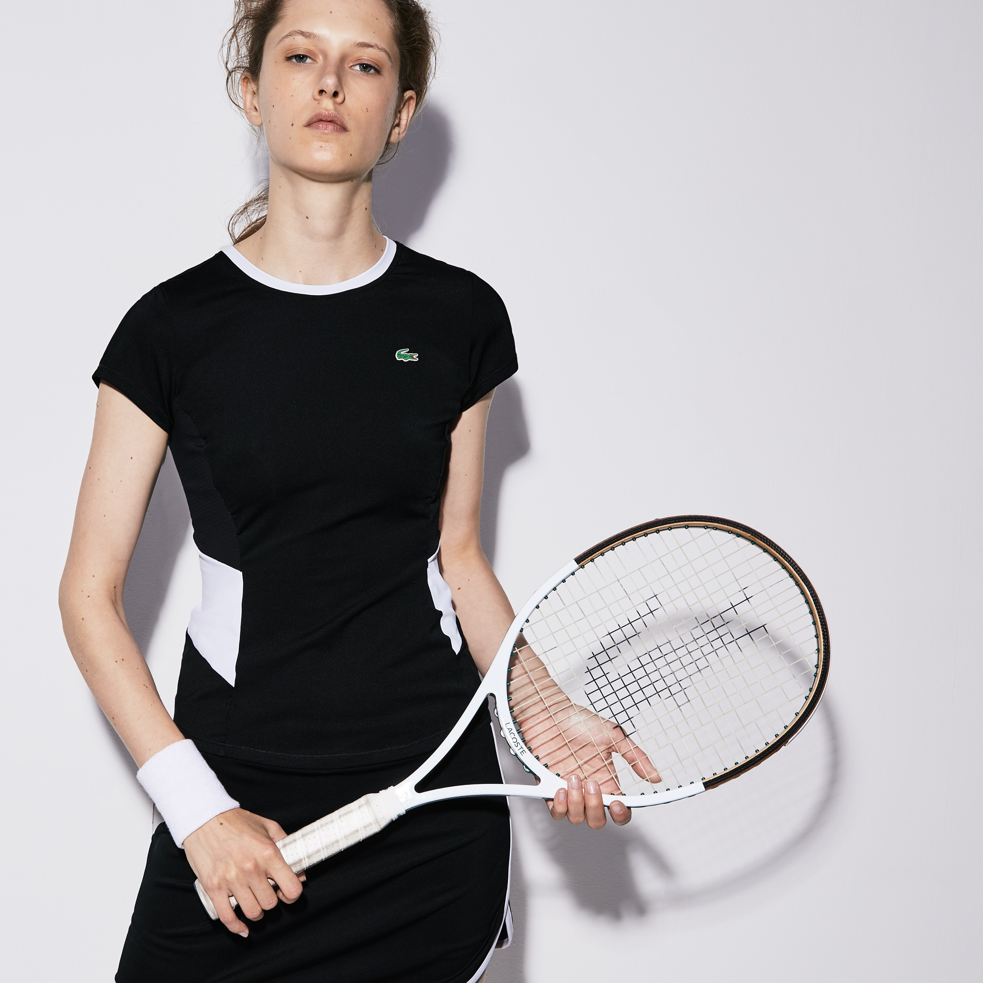Lacoste Sport系列女士圆领弹性平纹针织面料网球T恤