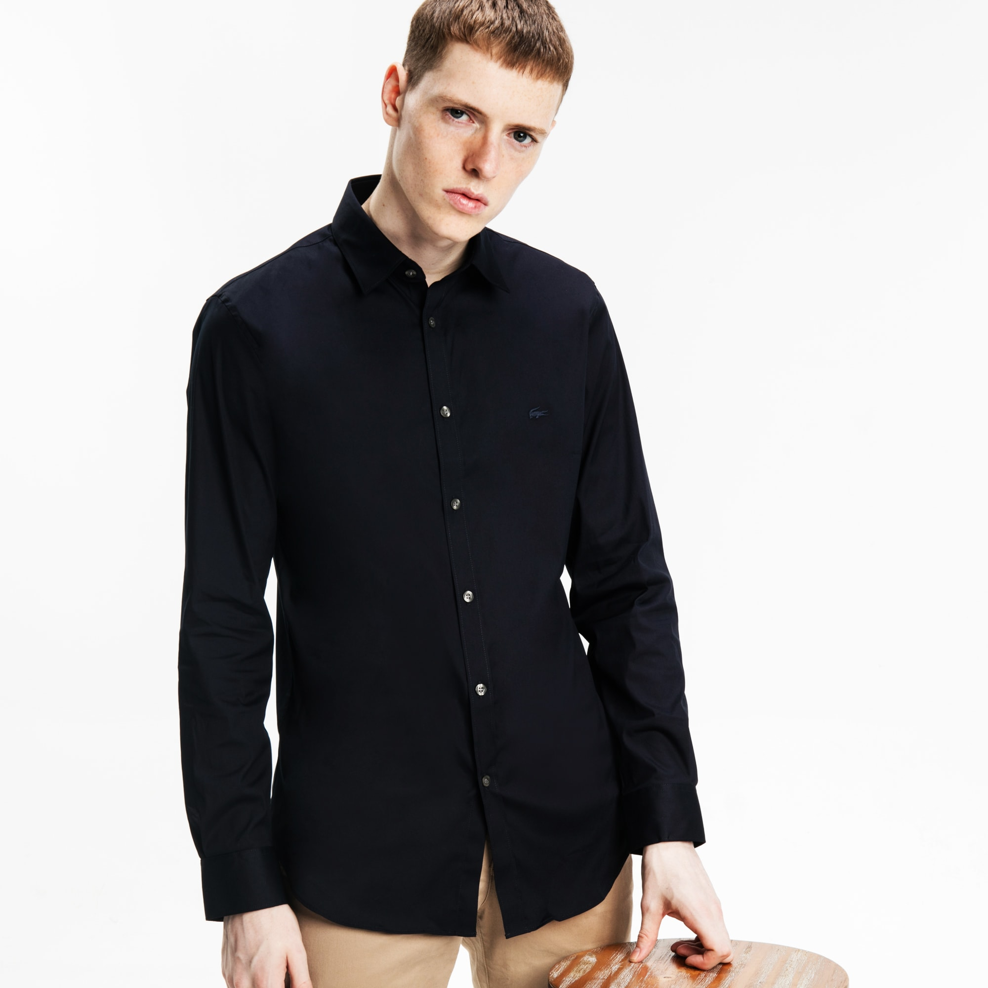 男士纯色长袖衬衫