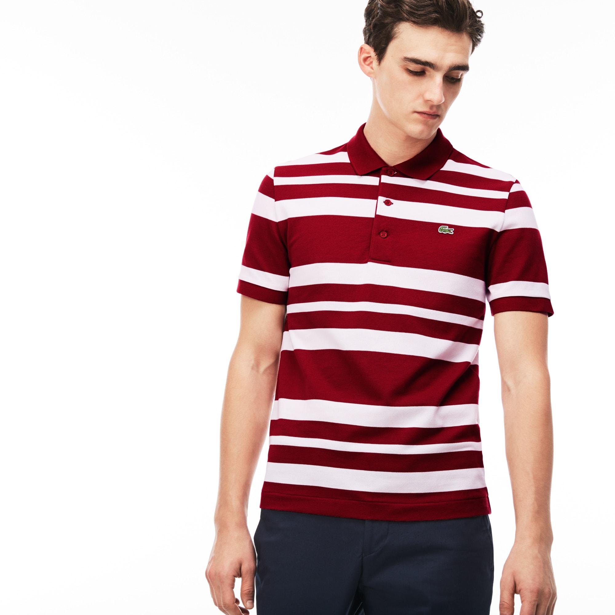 (남성) 변형 스트라이프 반팔 폴로 셔츠