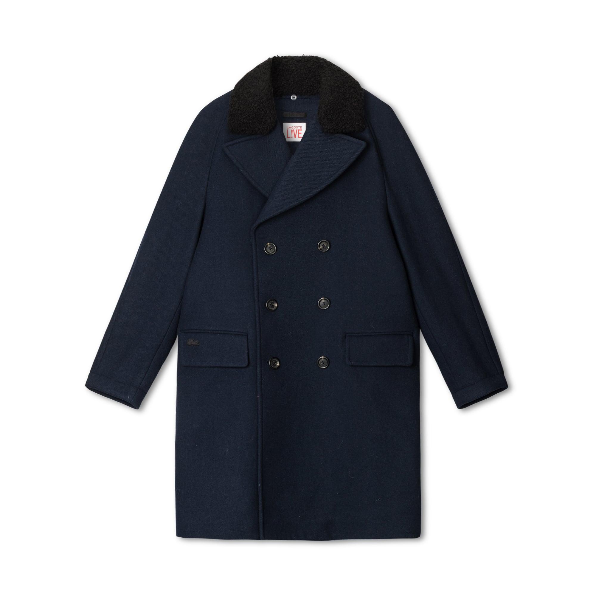 Lacoste LIVE系列全毛绒面呢双排扣水手短外套