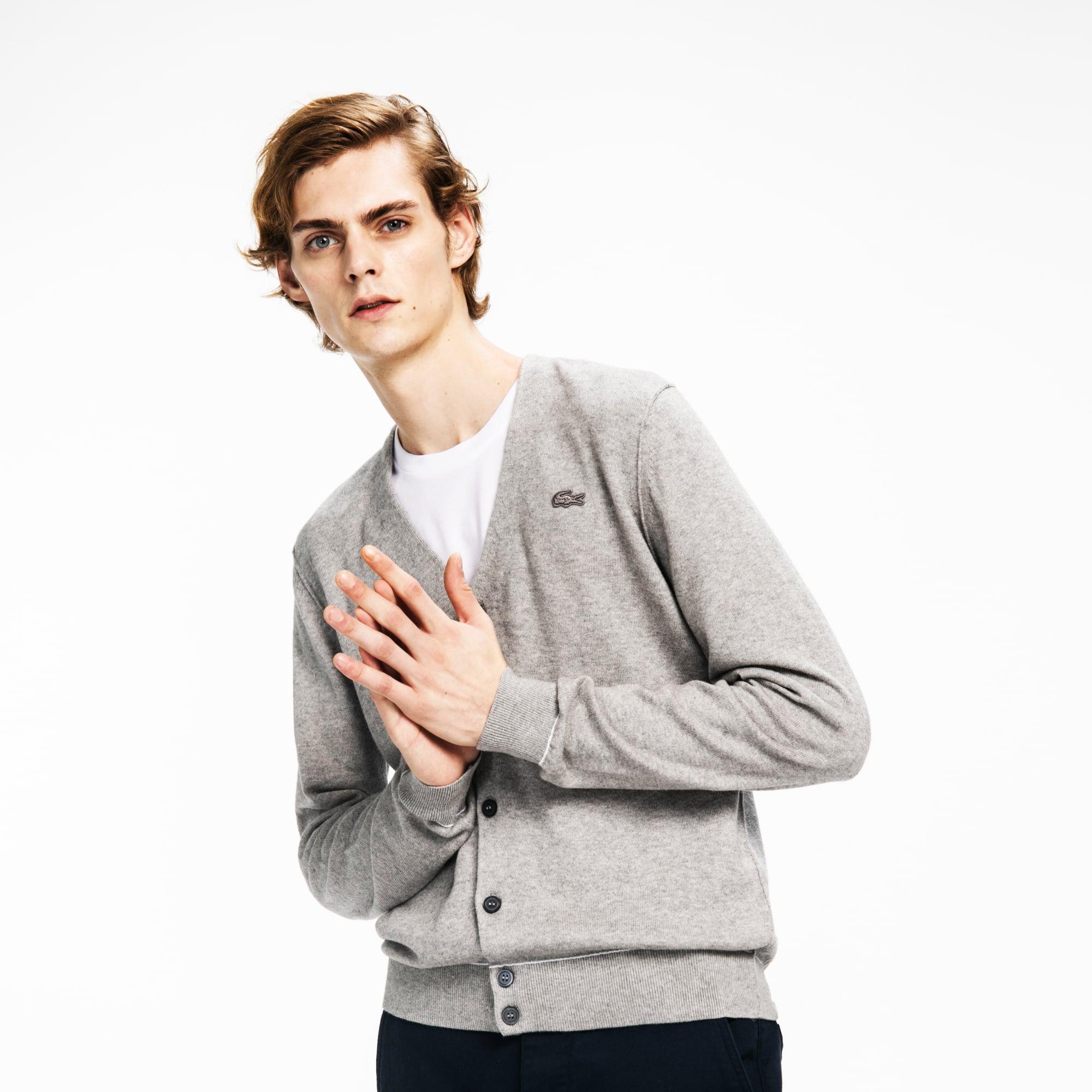 Lacoste LIVE系列男士滚边棉和羊绒混纺平纹针织面料开襟羊毛衫