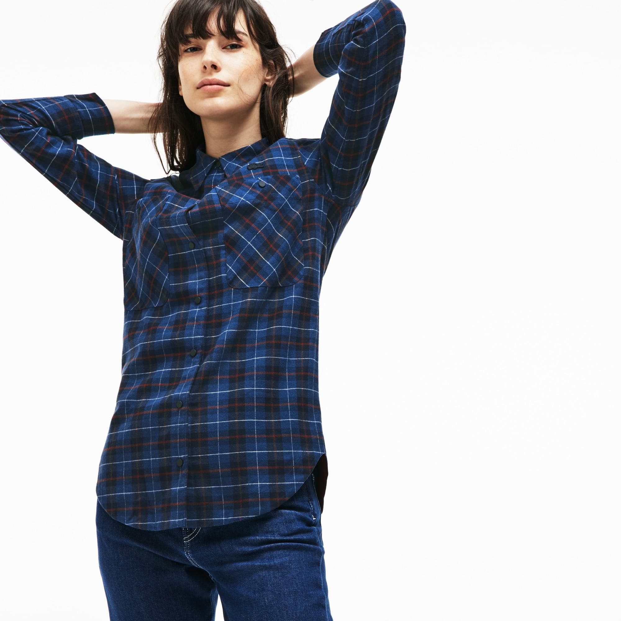 女士修身版弹力格纹棉质帆布衬衫