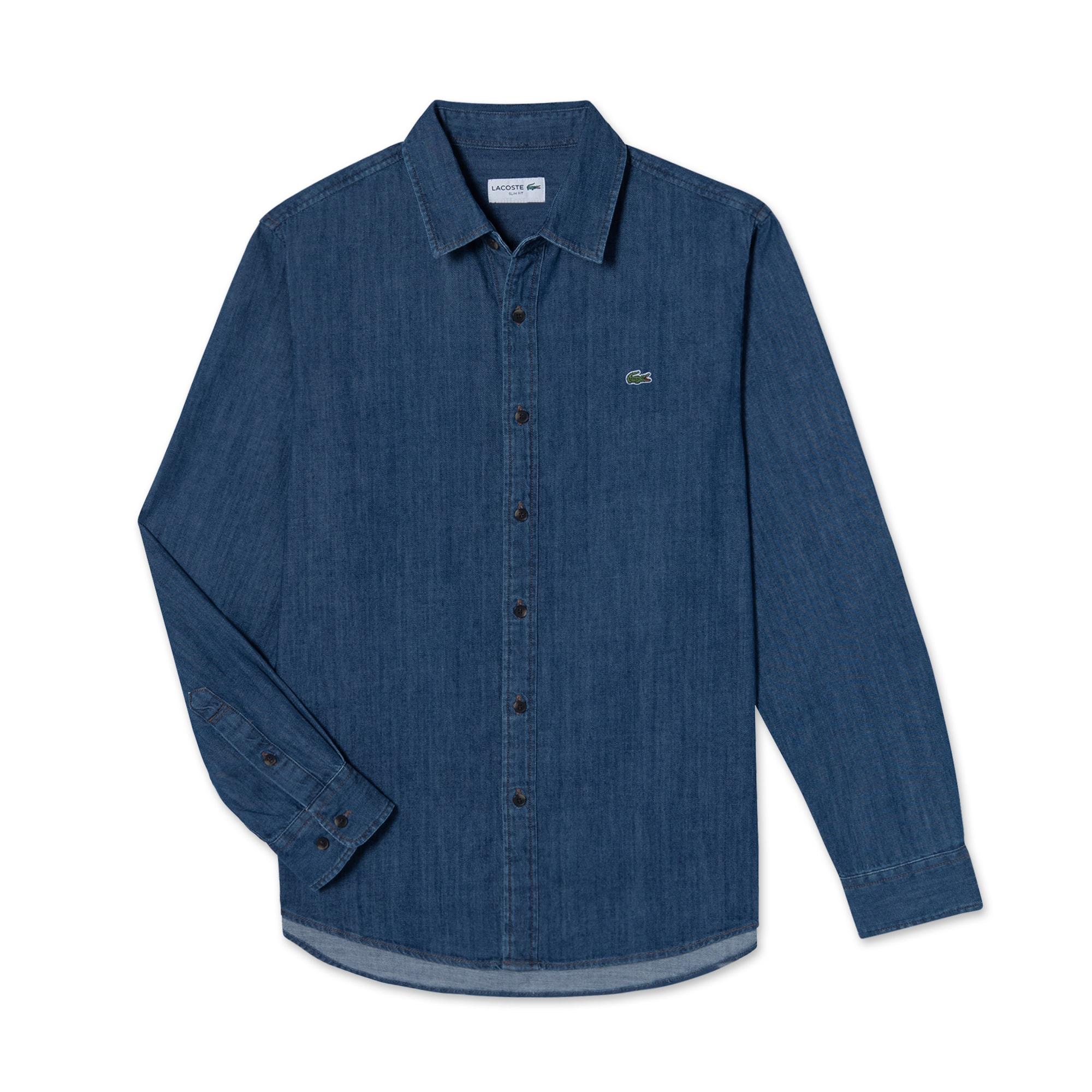 (남성) 라코스테 데님 베이직 슬림 셔츠