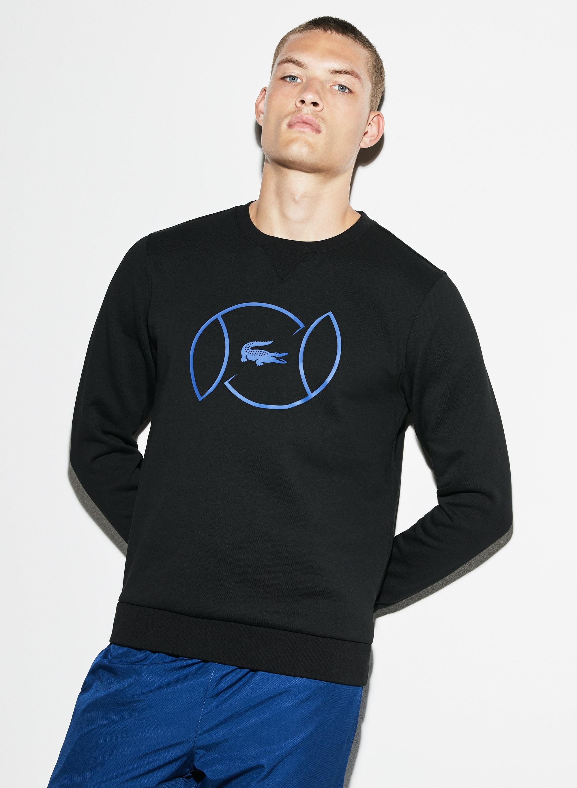 Lacoste SPORT系列男士拉绒布和印字网球运动衫