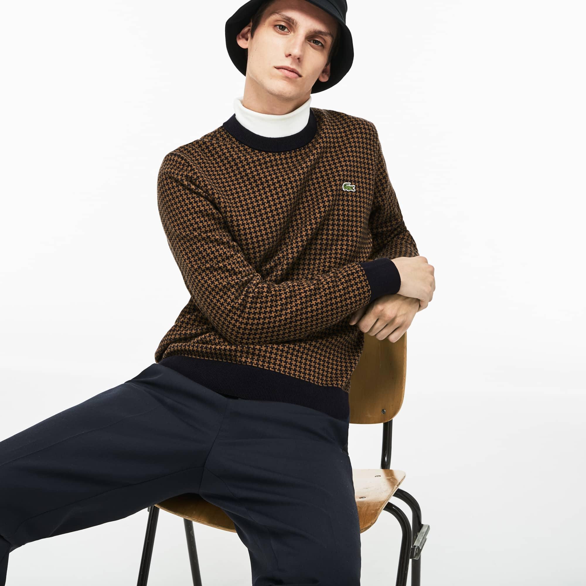 (남성) 하운드투스 패턴 울 코튼 크루넥 스웨터