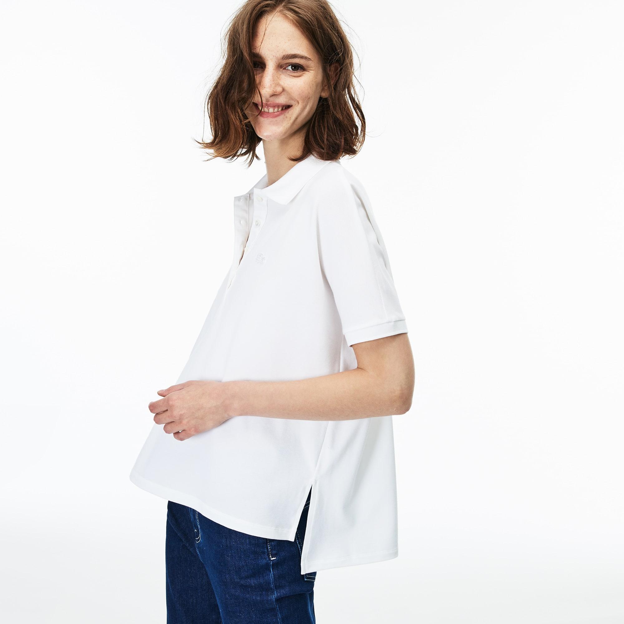 Lacoste女士宽松版飘逸弹力棉质凸纹网眼面料Polo衫