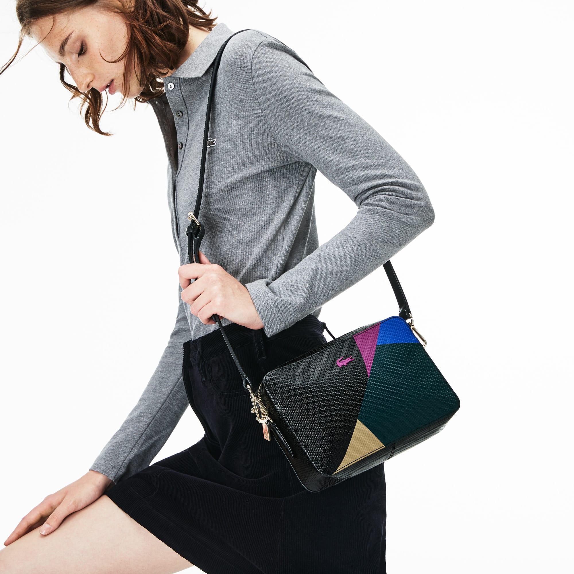 女士Chantaco系列色块拼接正方形皮革单肩包