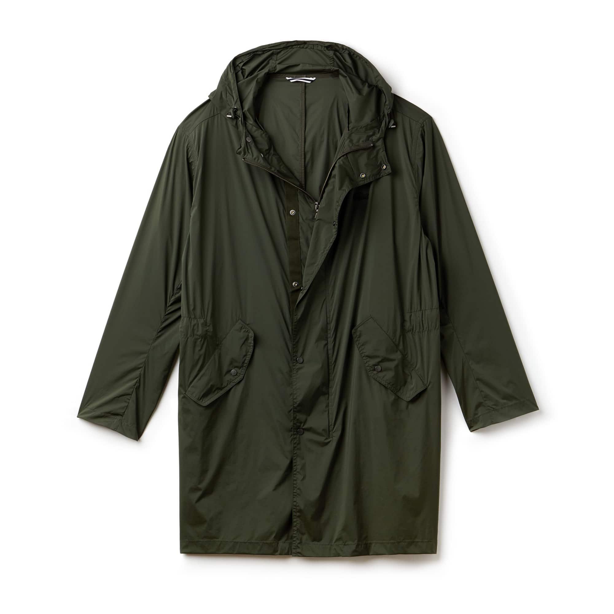 Lacoste MOTION男士单色弹力塔夫绸长版连帽防风夹克