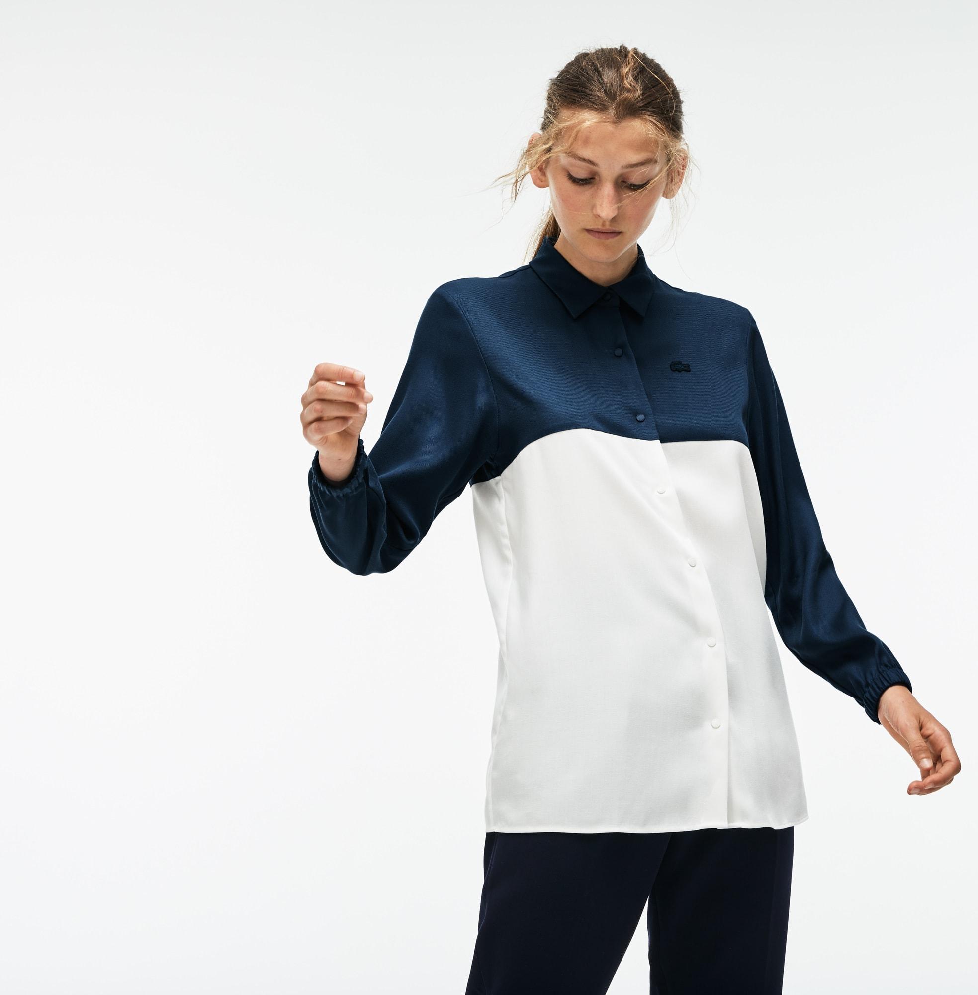 常规版双色流线型凸纹网眼面料女士衬衫