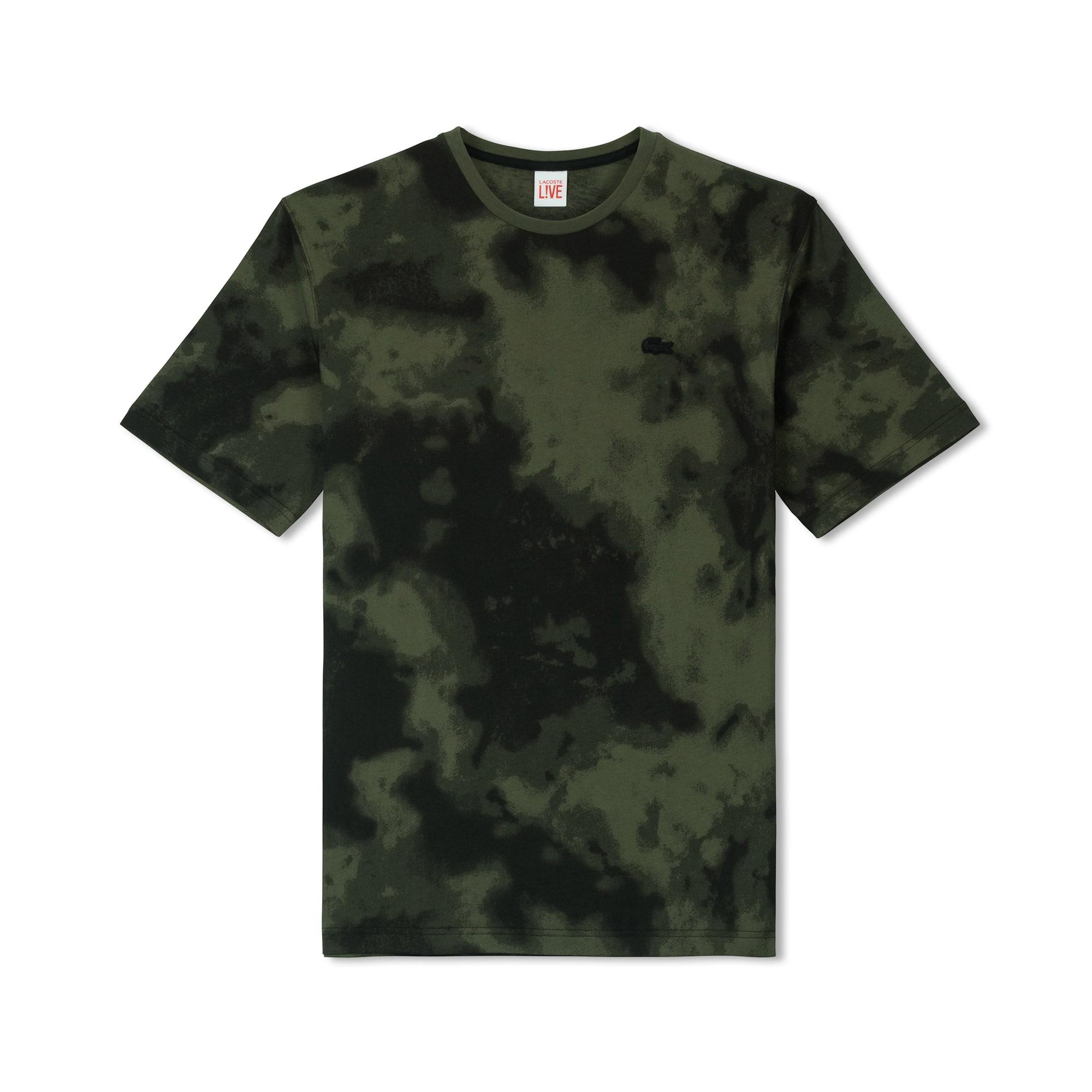 Lacoste LIVE系列云朵印花弹性平纹针织面料男士圆领T恤