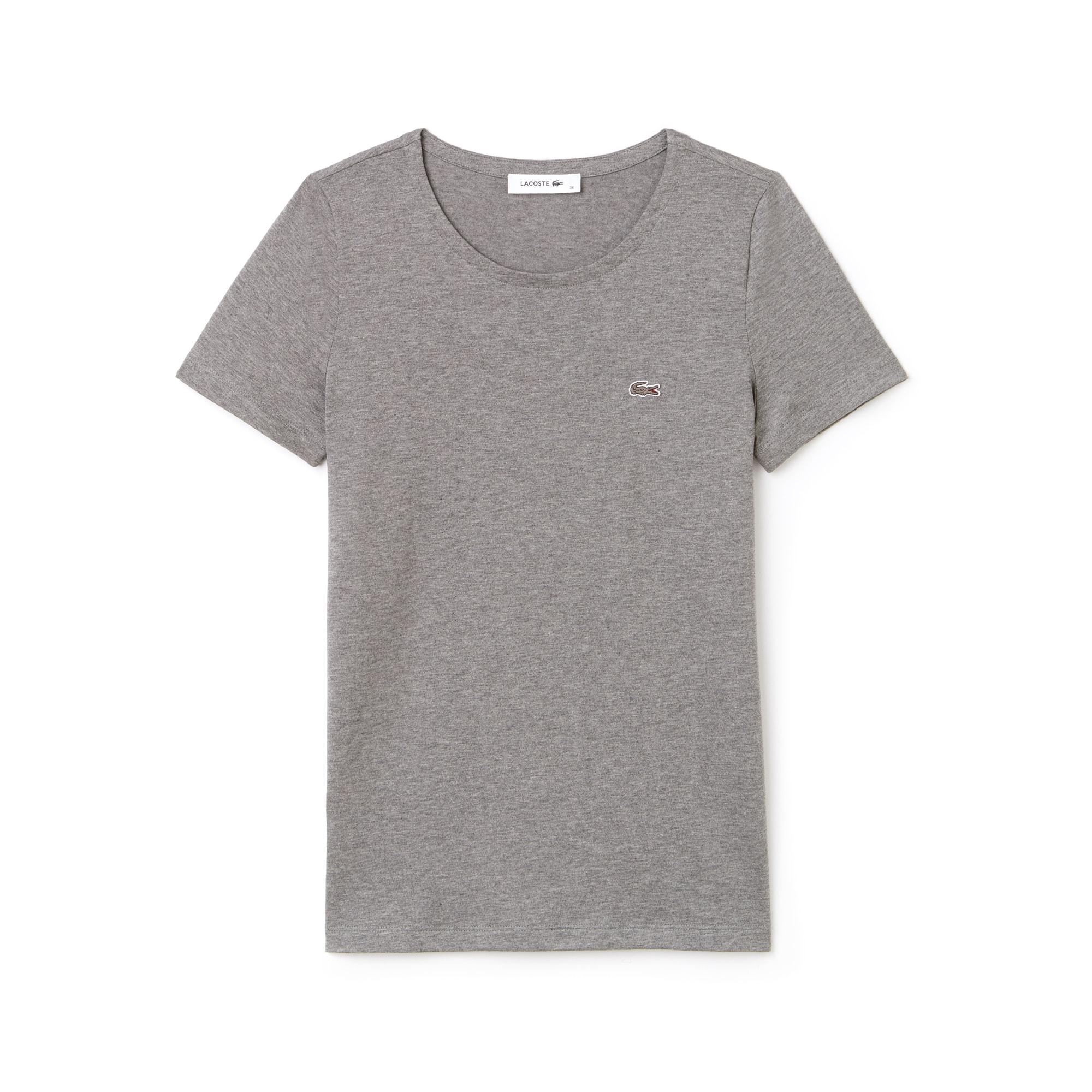 女士圆领飘逸棉质平纹针织T恤
