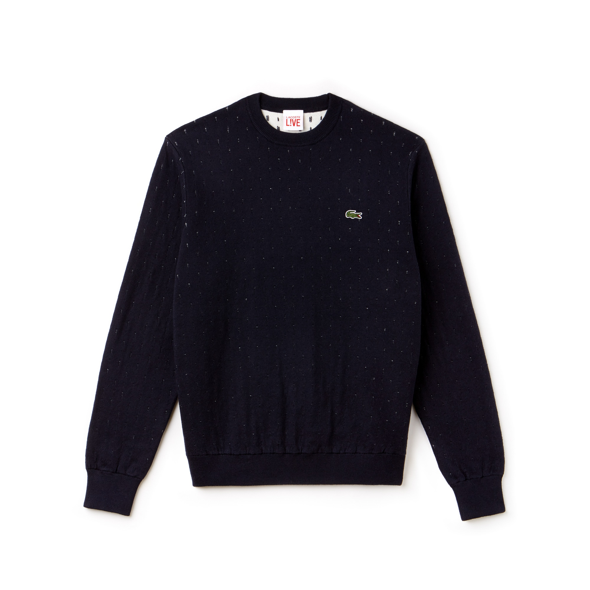 Lacoste LIVE系列棉和羊绒混纺提花织物男士圆领毛衣