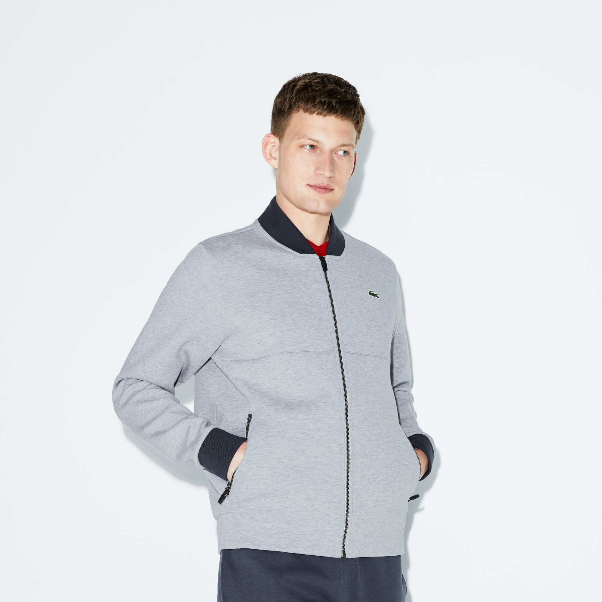 Lacoste SPORT男士香蕉领拉链抓绒网球运动衫