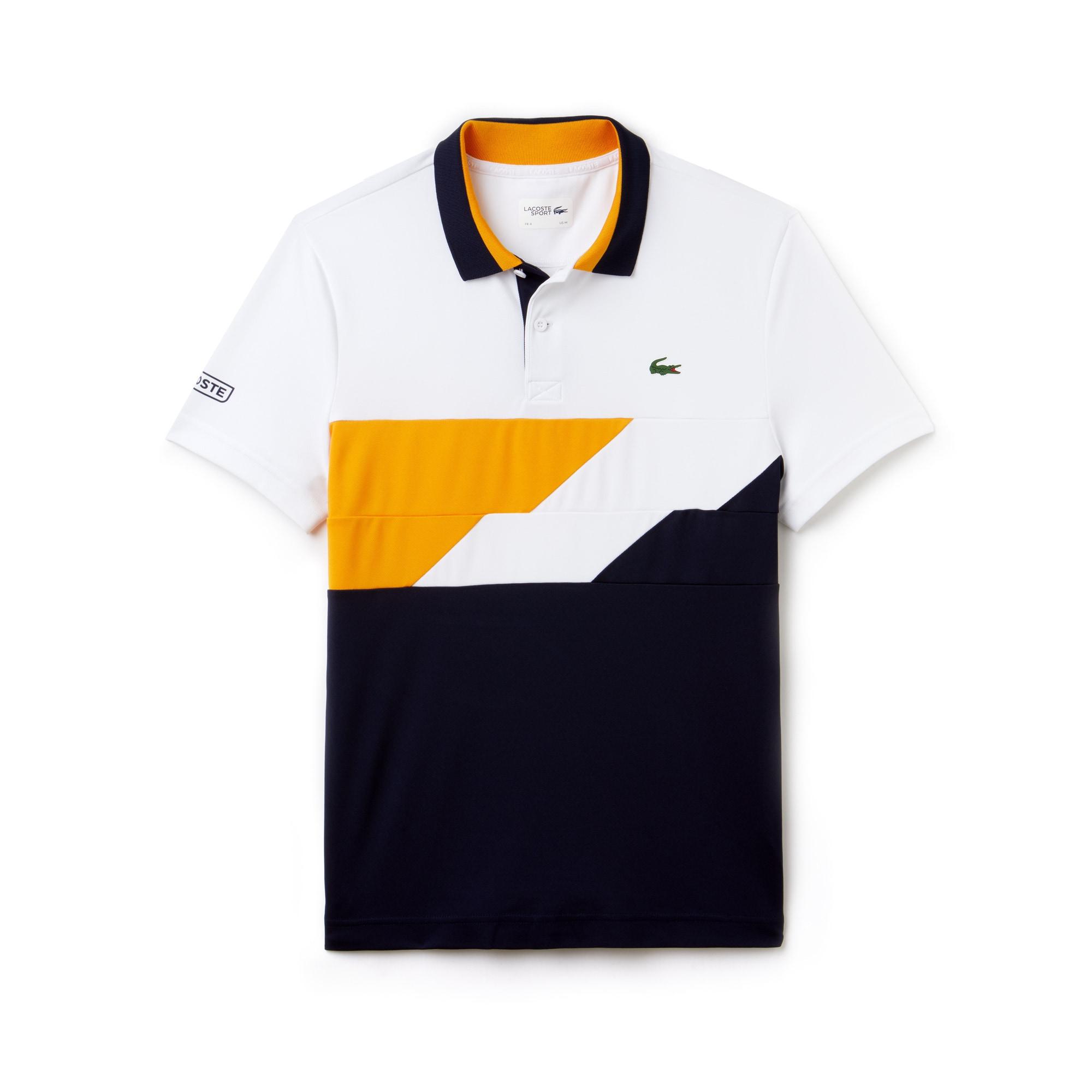 Lacoste SPORT系列色块拼接带科技凸纹网眼面料男士网球Polo衫