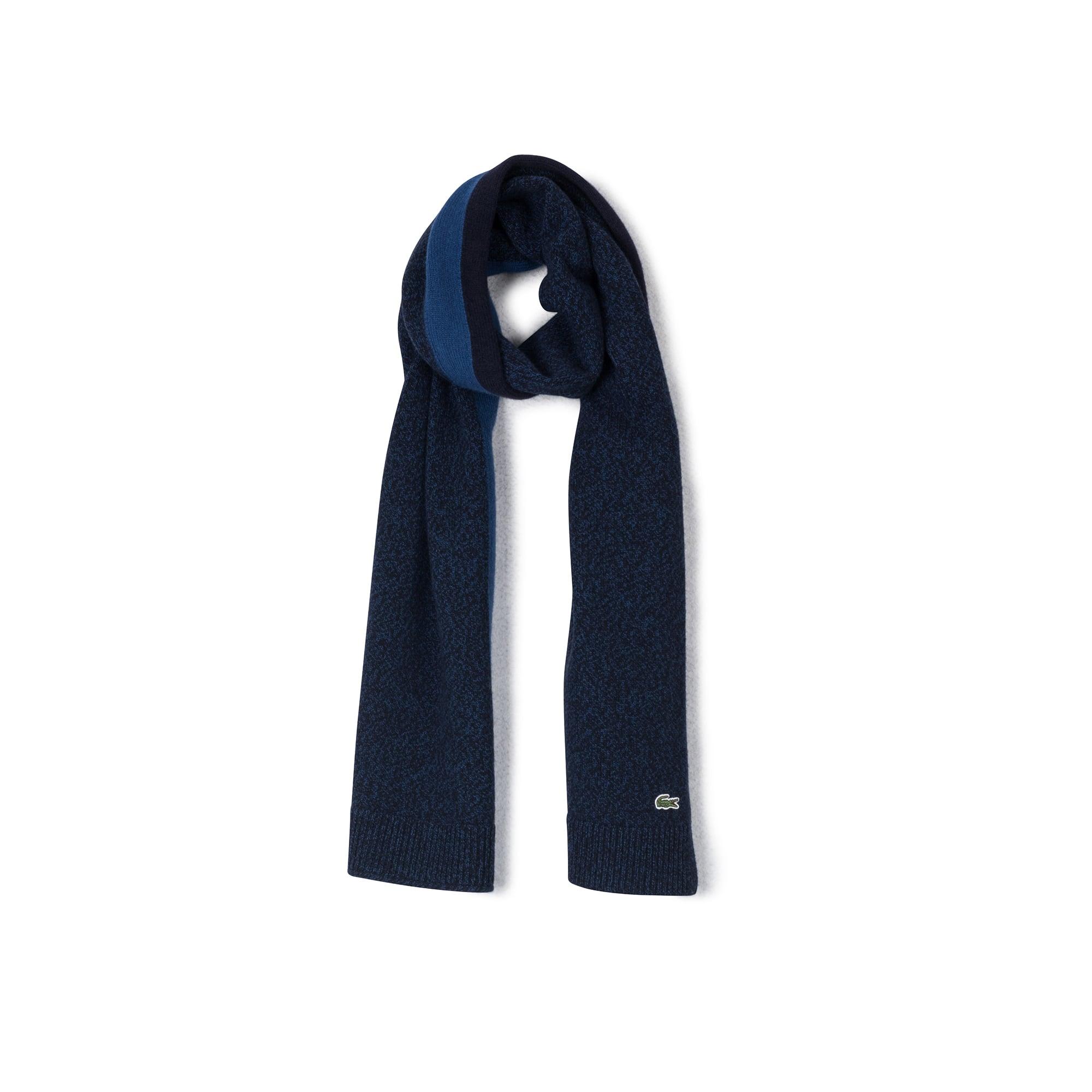 男士撞色饰带mouliné羊毛平纹针织围巾