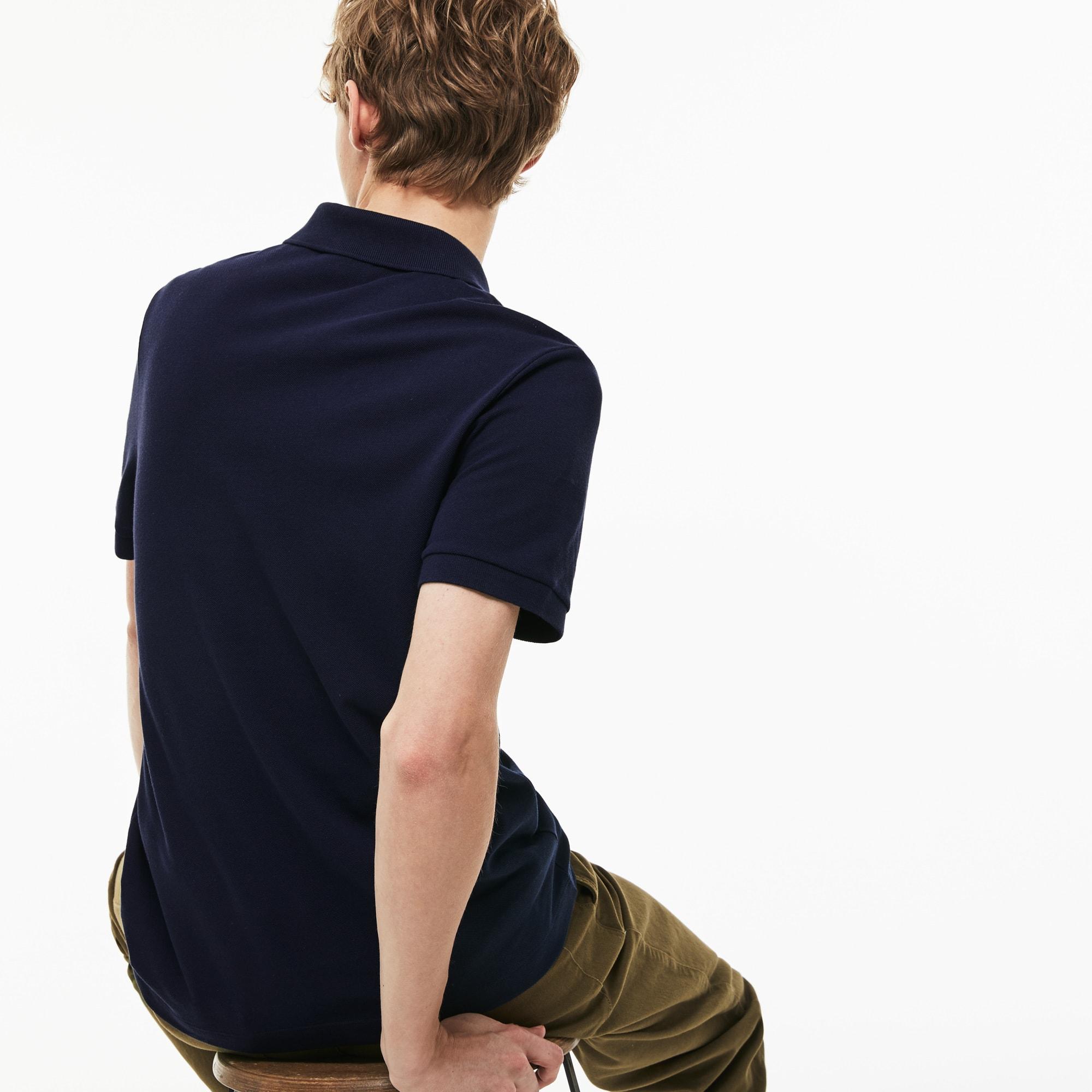 Lacoste男士常规版棉质小凸纹网眼面料Polo衫