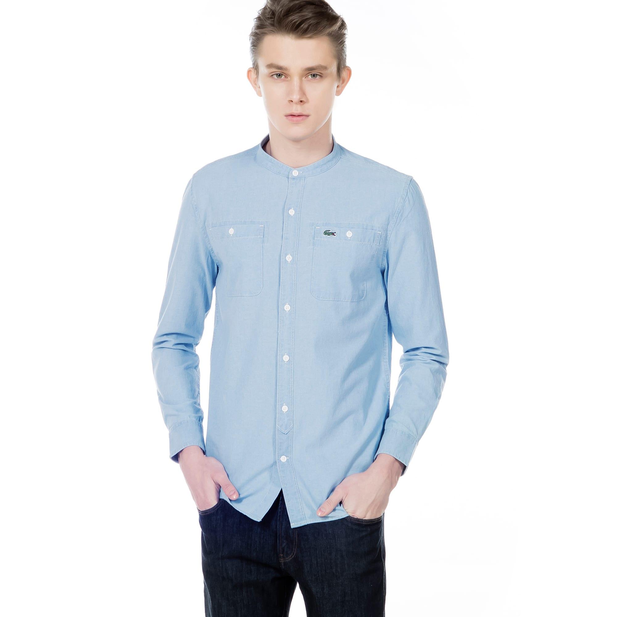 (남성) 샴브레이 헨리넥 긴팔 셔츠