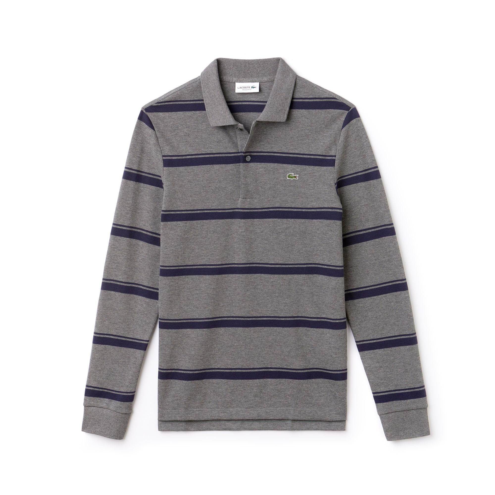 Lacoste男士修身版条纹轻薄凸纹网眼面料Polo衫