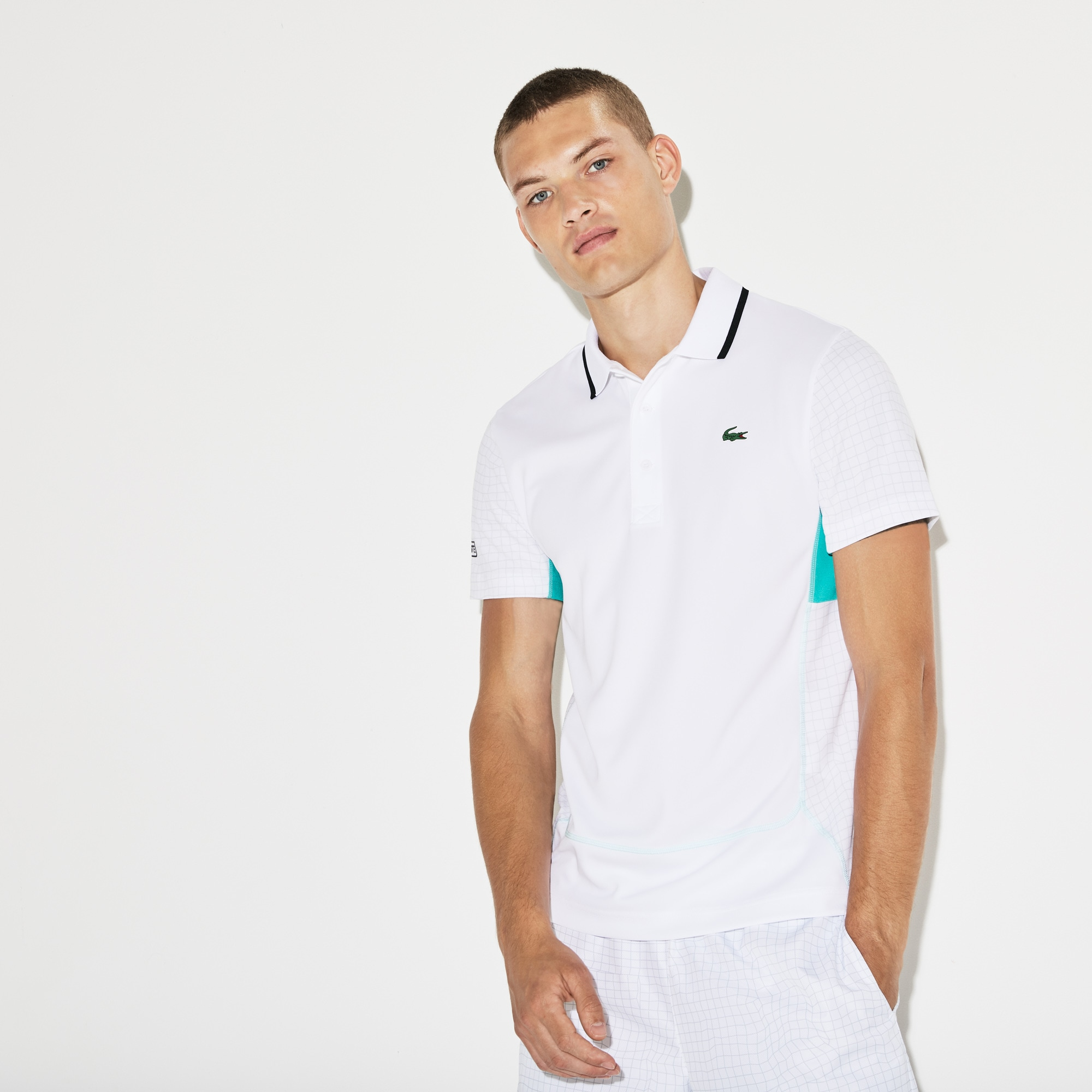 Lacoste SPORT男士网印凸纹网眼面料网球polo衫