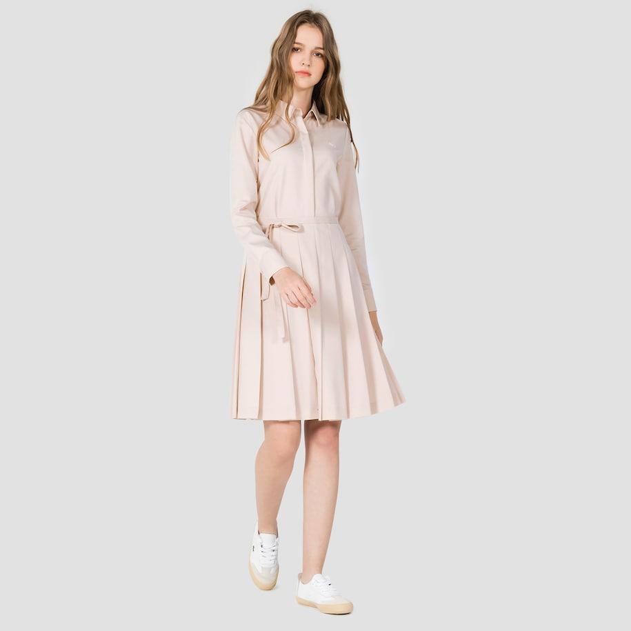 라코스테 플리츠 셔츠 드레스 가을 원피스 하객룩 셔츠 원피스
