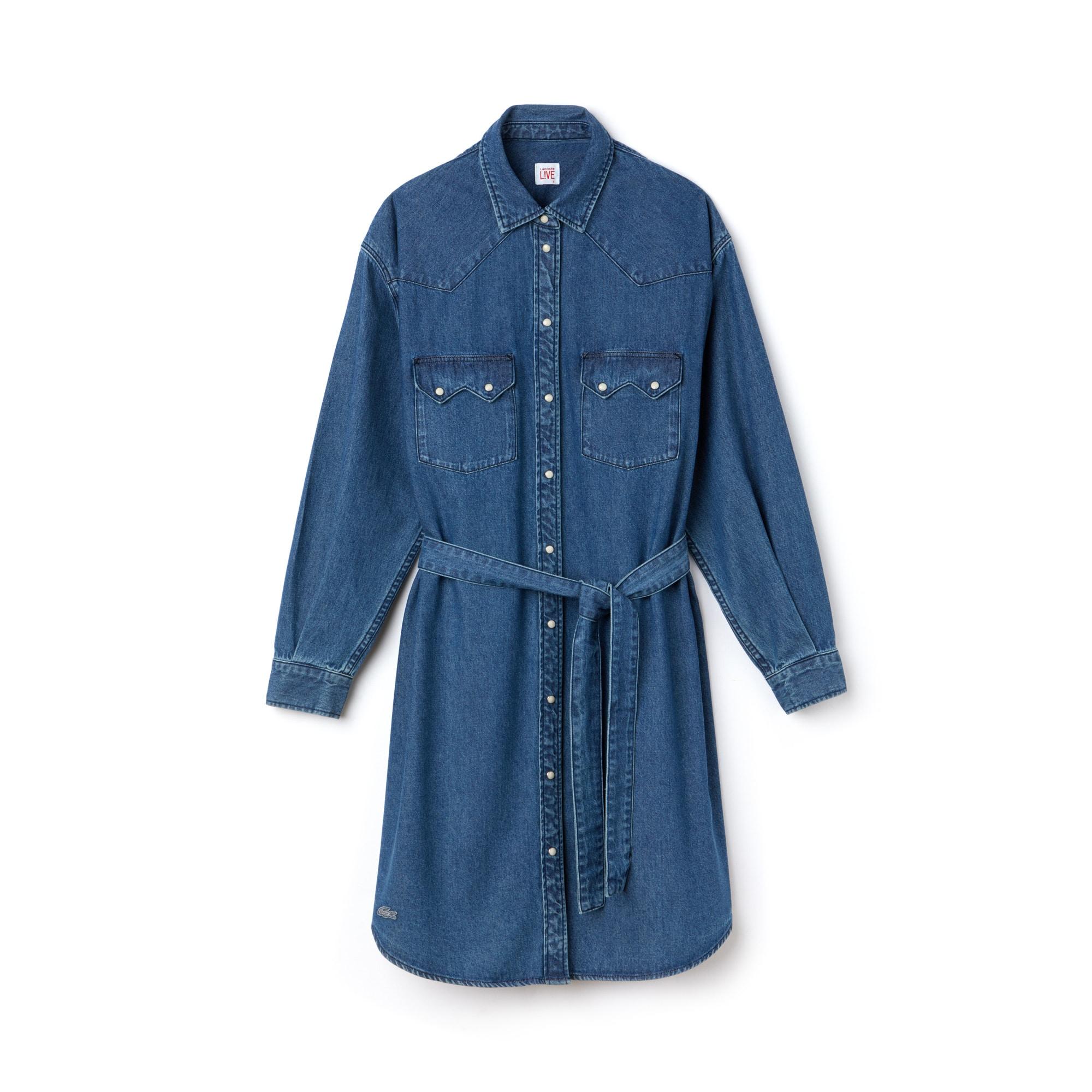 (여성) 라코스테 라이브 데님 셔츠 원피스