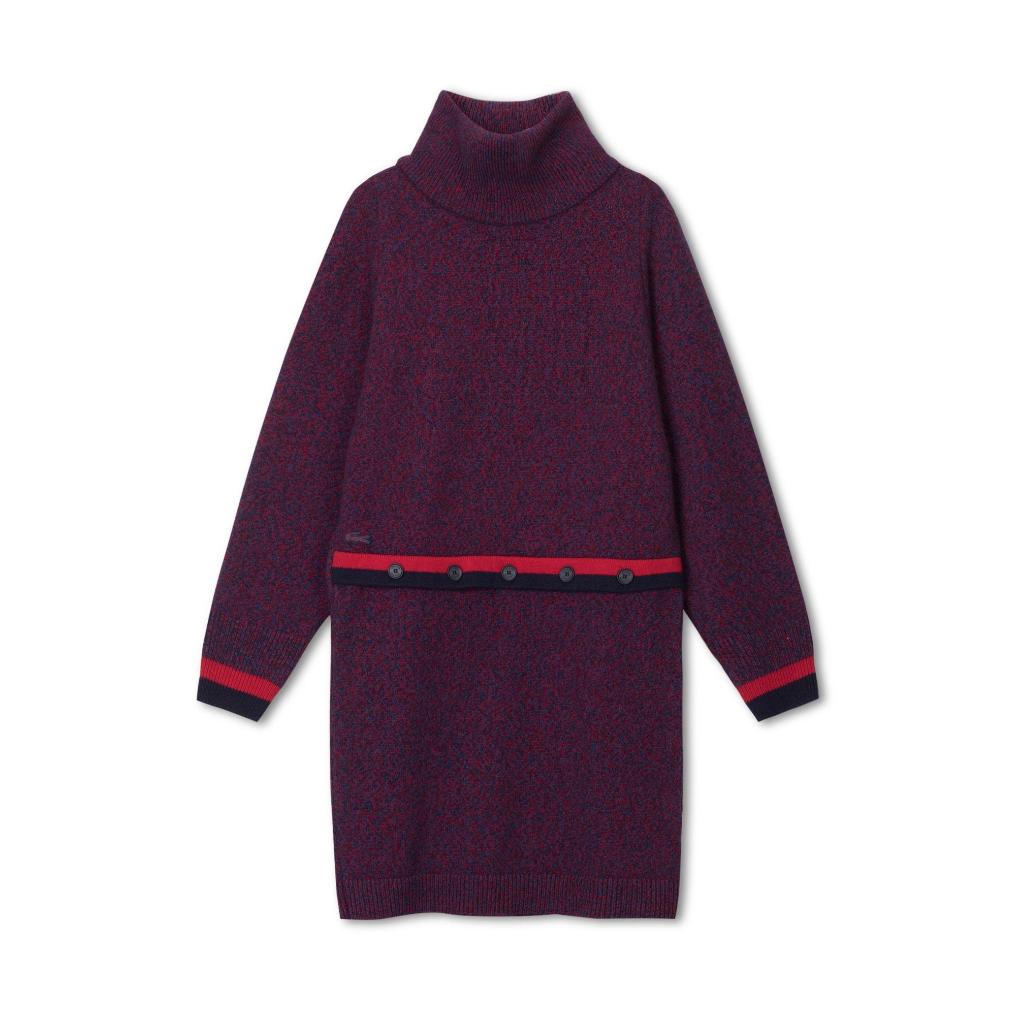 法国制造女士撞色点缀平纹单面针织面料毛衫连衣裙