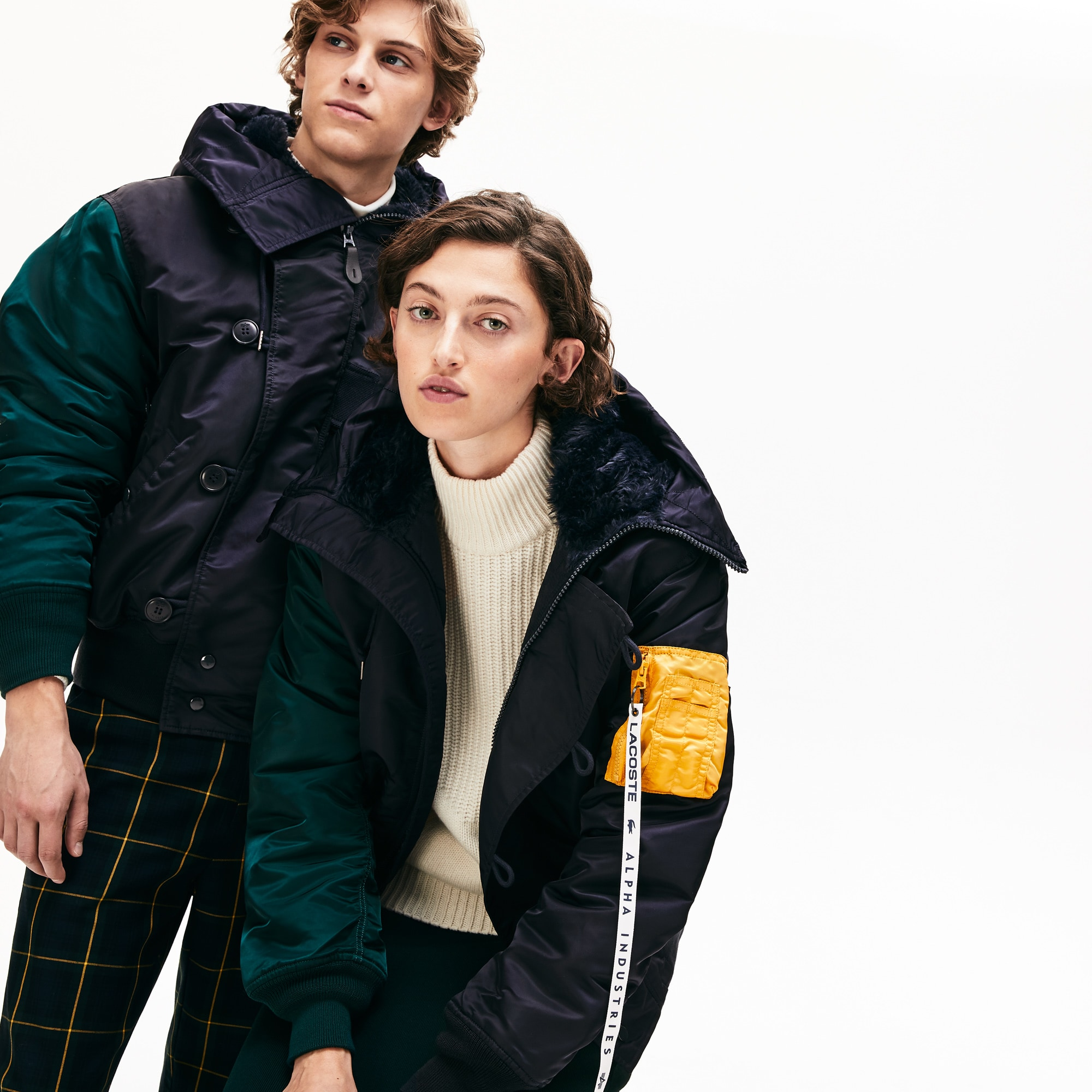 [Unisex] Lacoste x Alpha Industries 컬러블럭 항공잠바