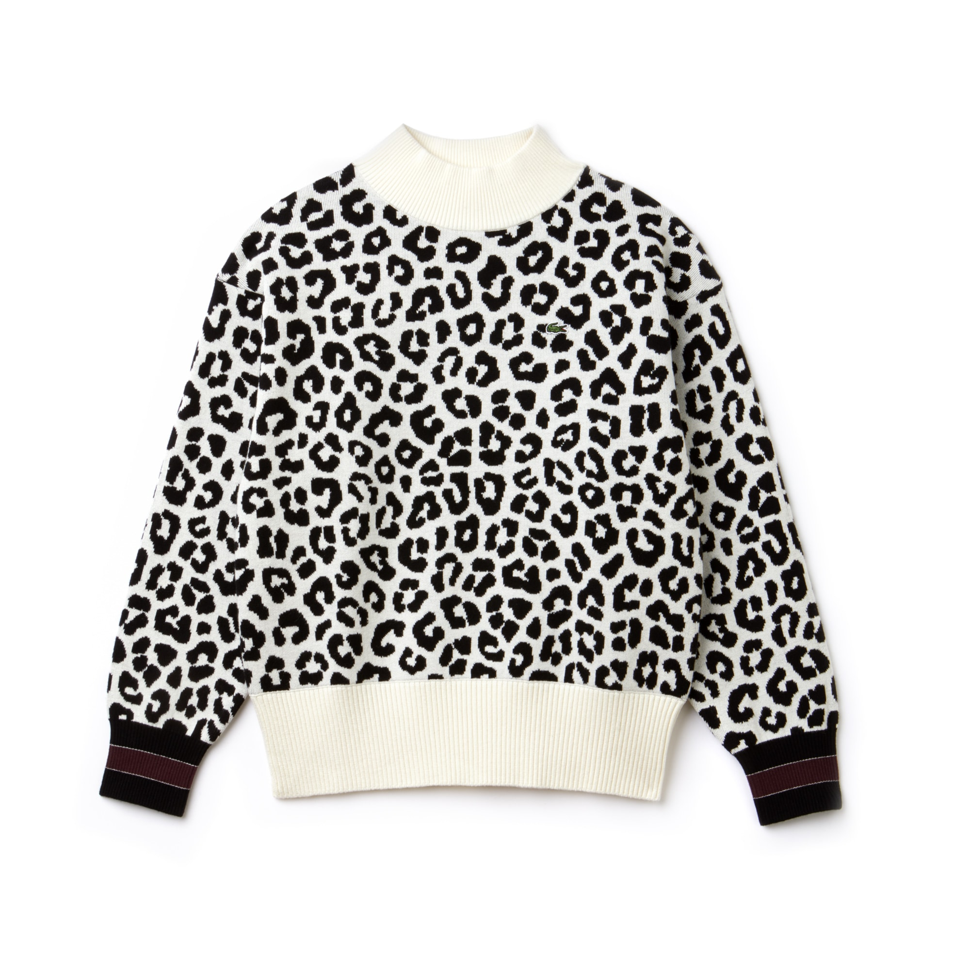 Lacoste Live系列女士豹纹印花提花织物毛衣