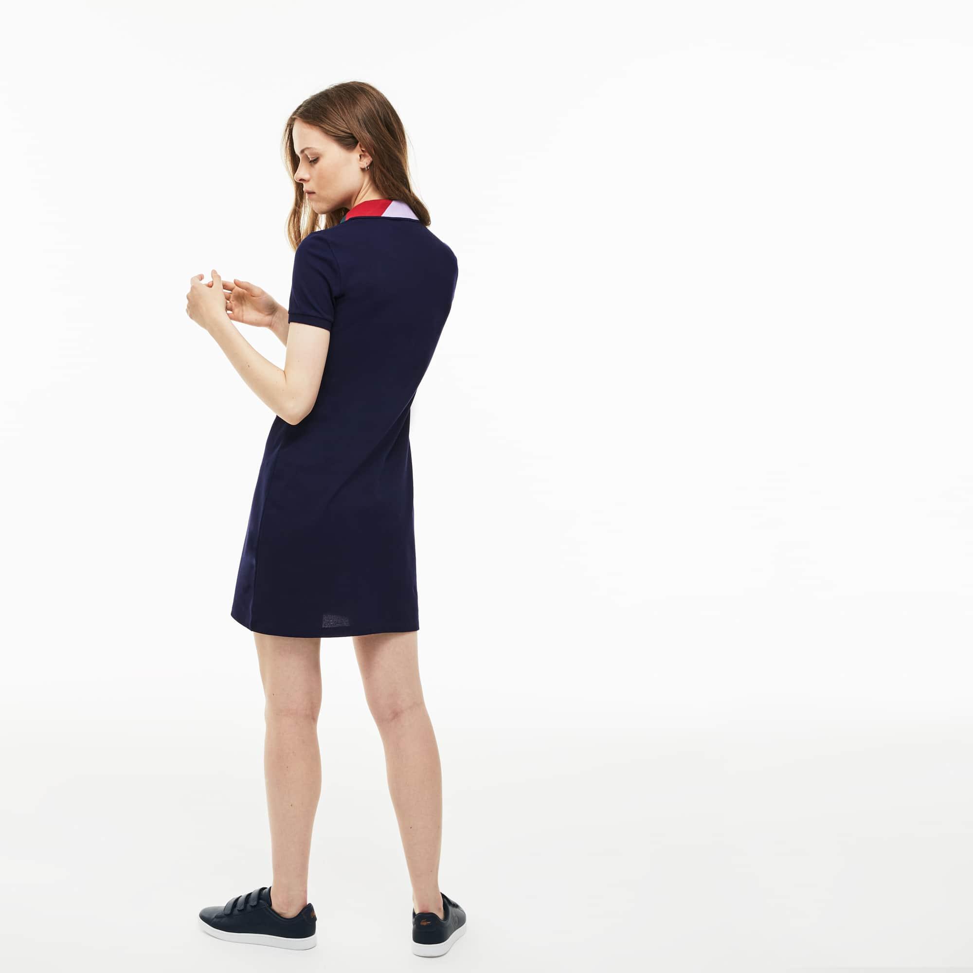 女士修身版色块拼接提花织物领小凸纹网眼面料Polo裙