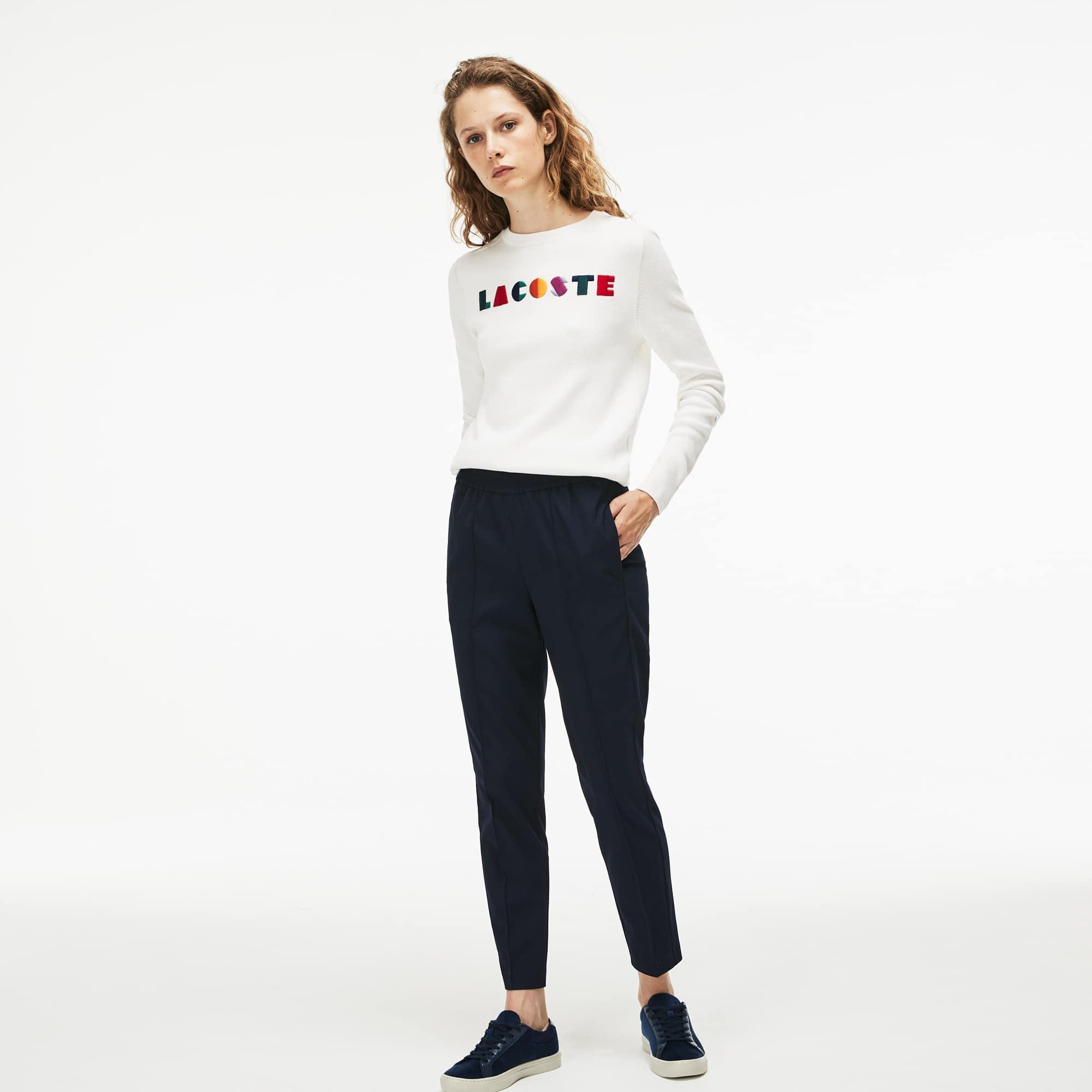 常规版女士都市风条纹弹力慢跑运动裤