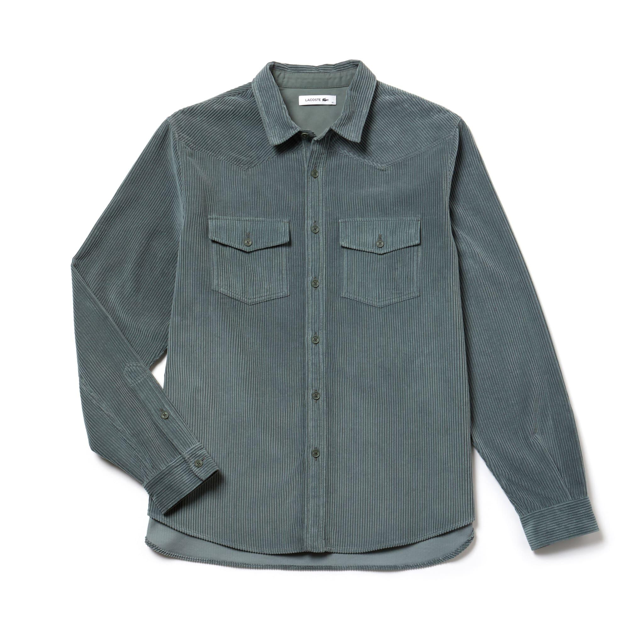 男士时尚罗纹棉质丝绒衬衫