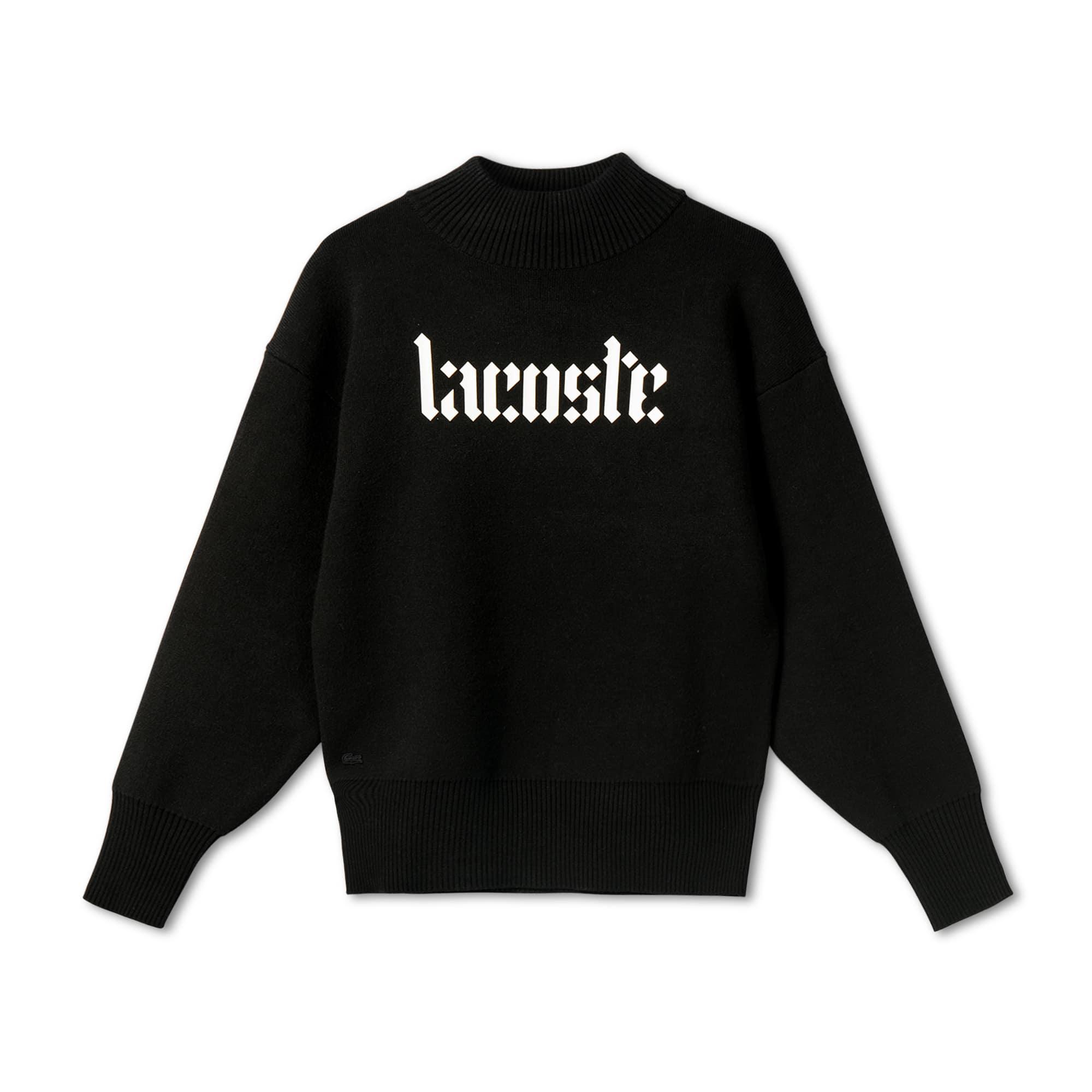 Lacoste Live系列哥特风平纹针织面料女士立领毛衣