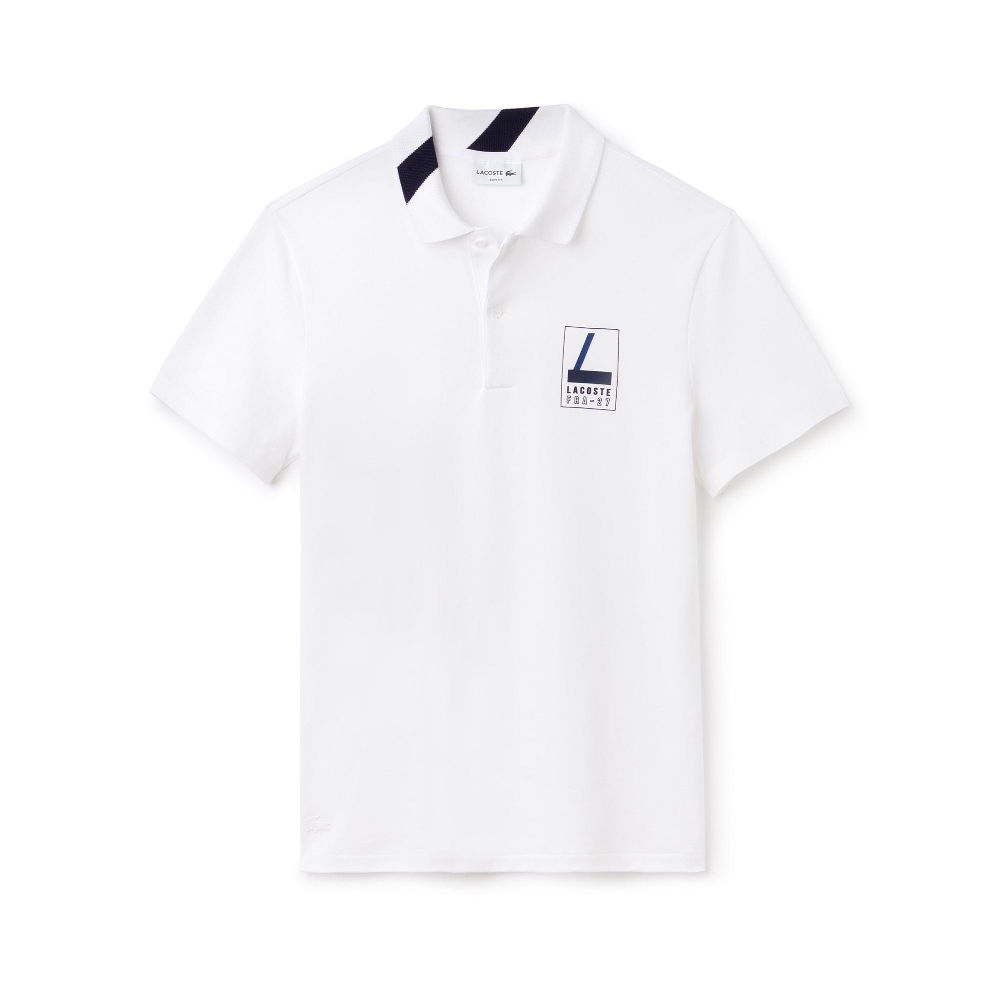 Lacoste男士修身版字母弹力迷你凸纹网眼面料polo衫