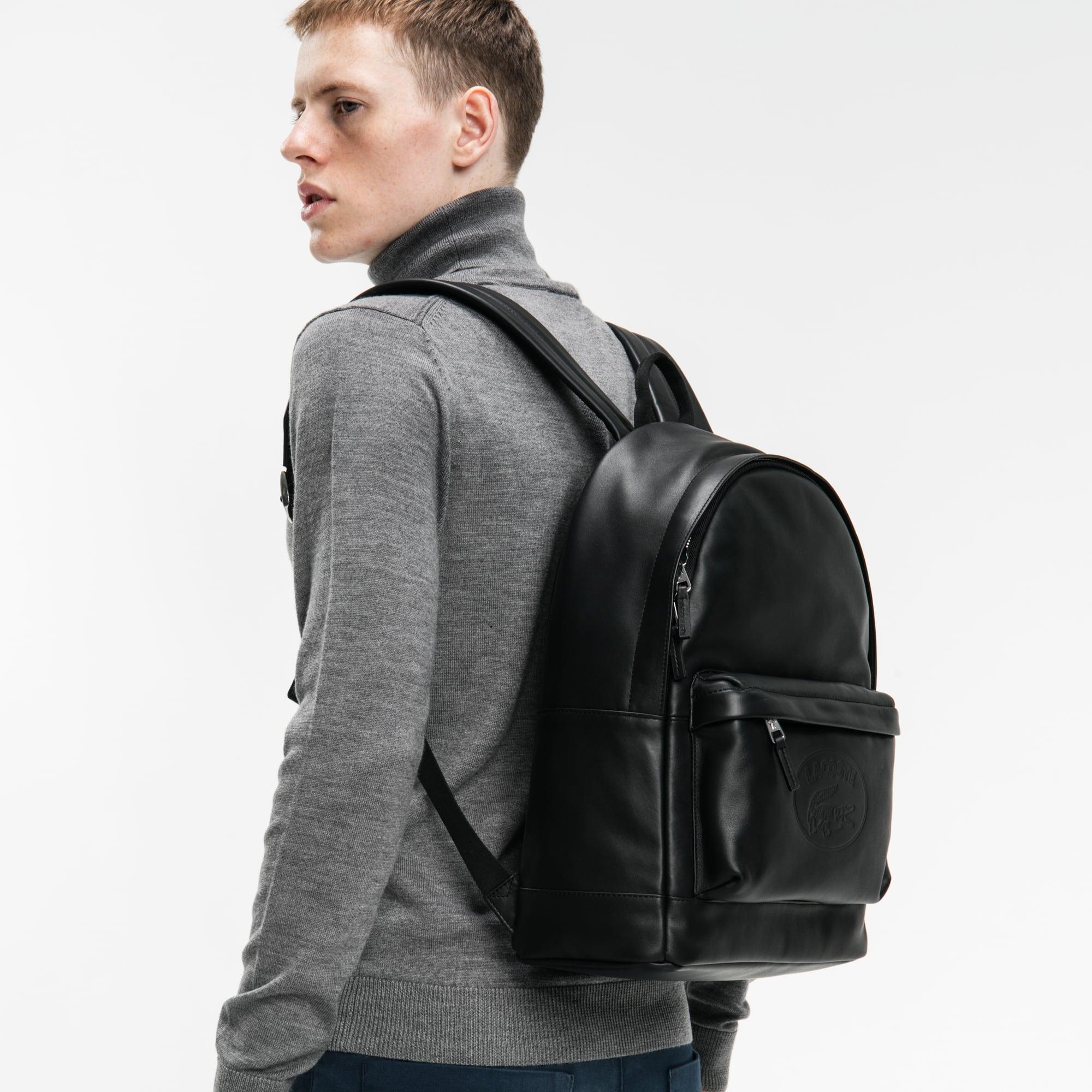 男士L.12.12系列凸印字母休闲皮革背包