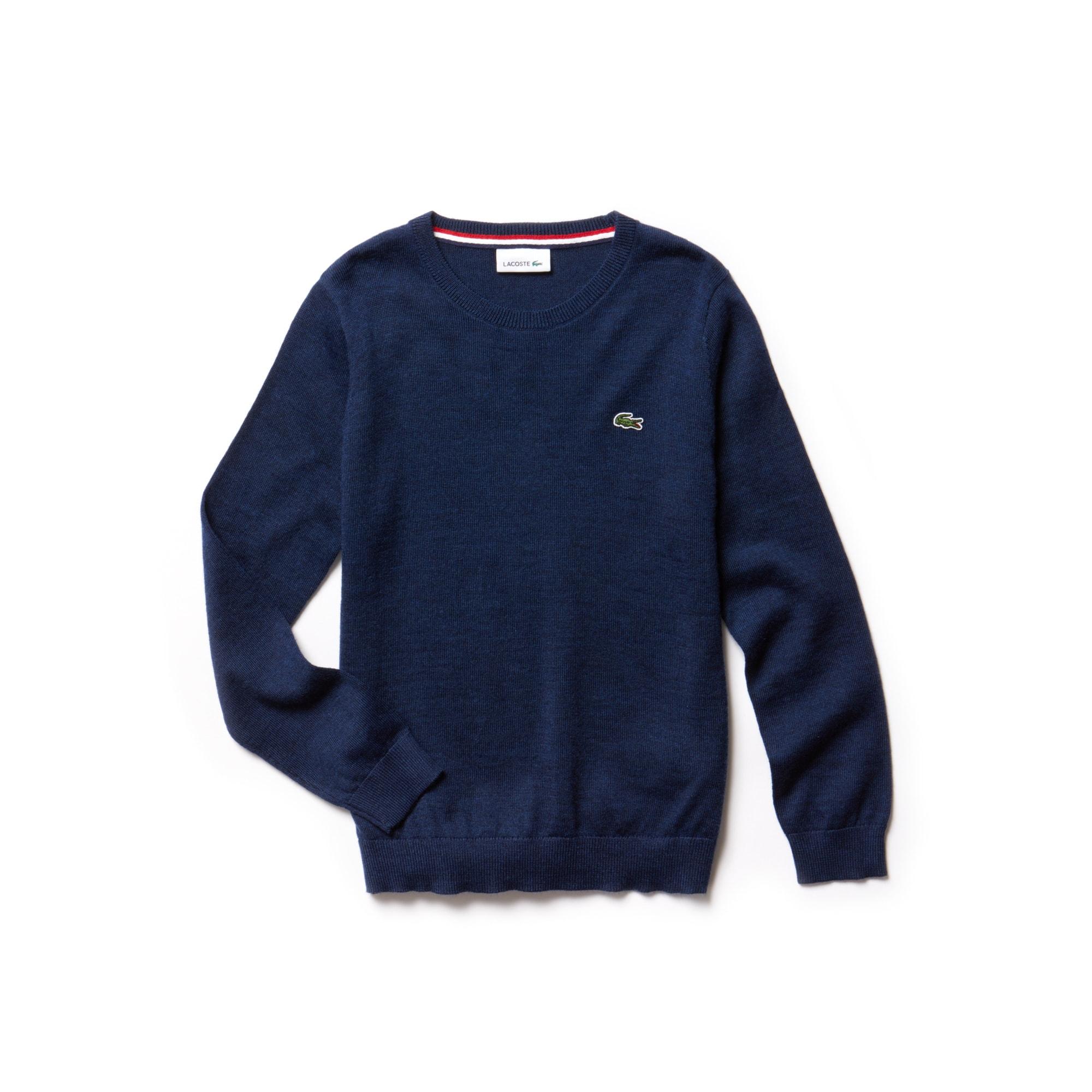 羊毛混纺平纹针织面料男童圆领毛衣