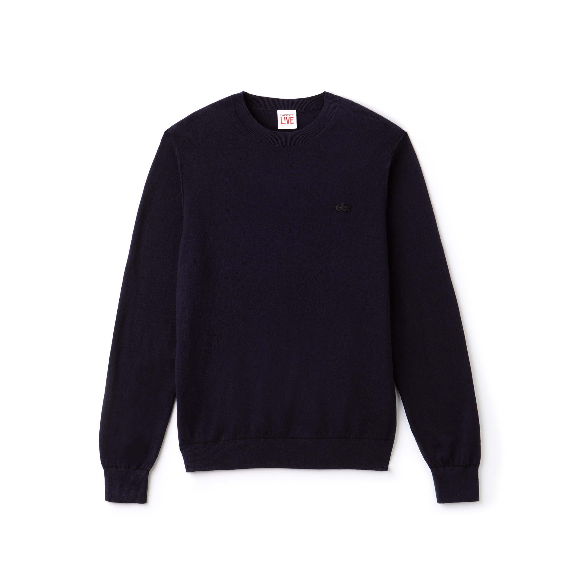 Lacoste LIVE男士圆领棉羊绒平纹单面针织毛衣