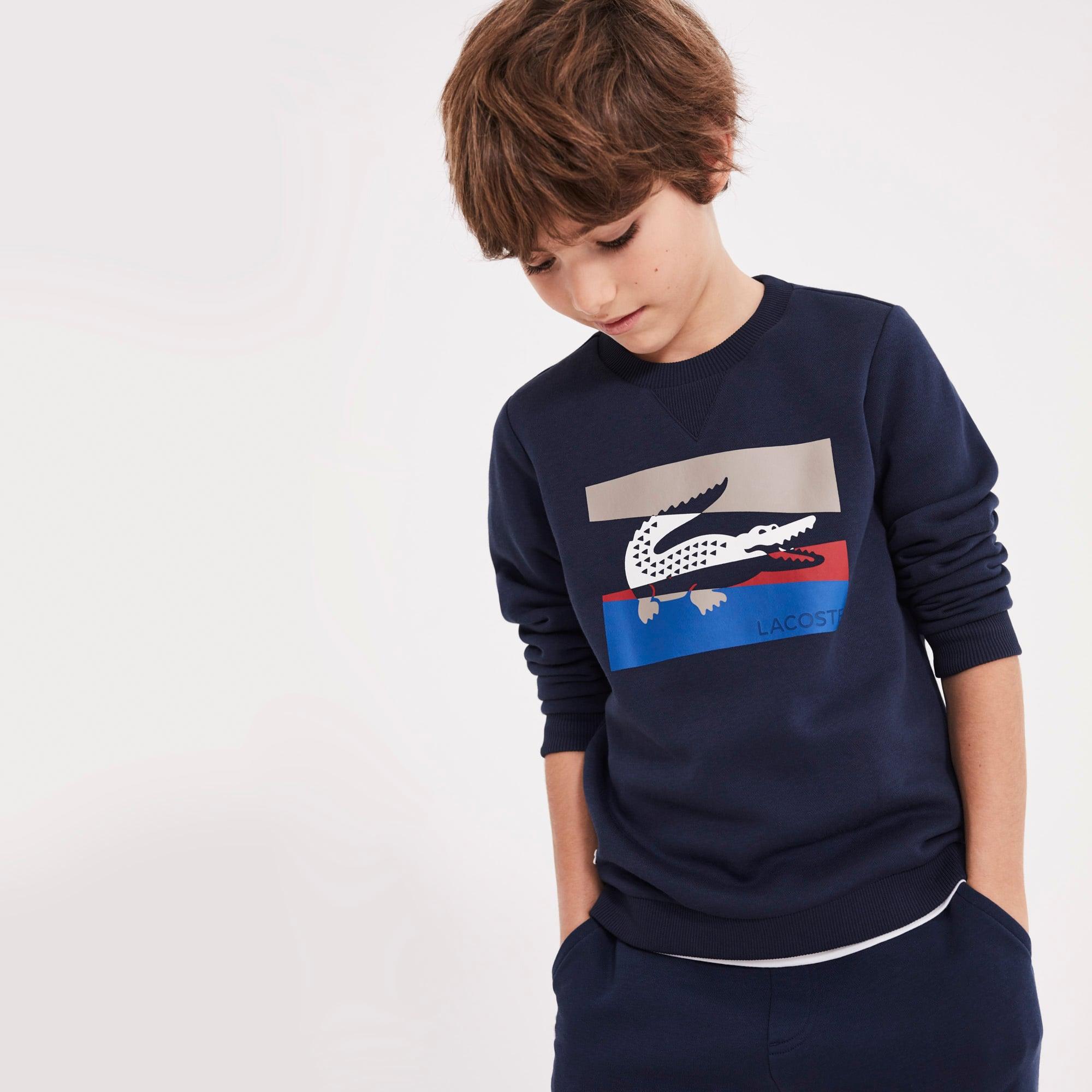 男童色块拼接印字圆领拉绒运动衫