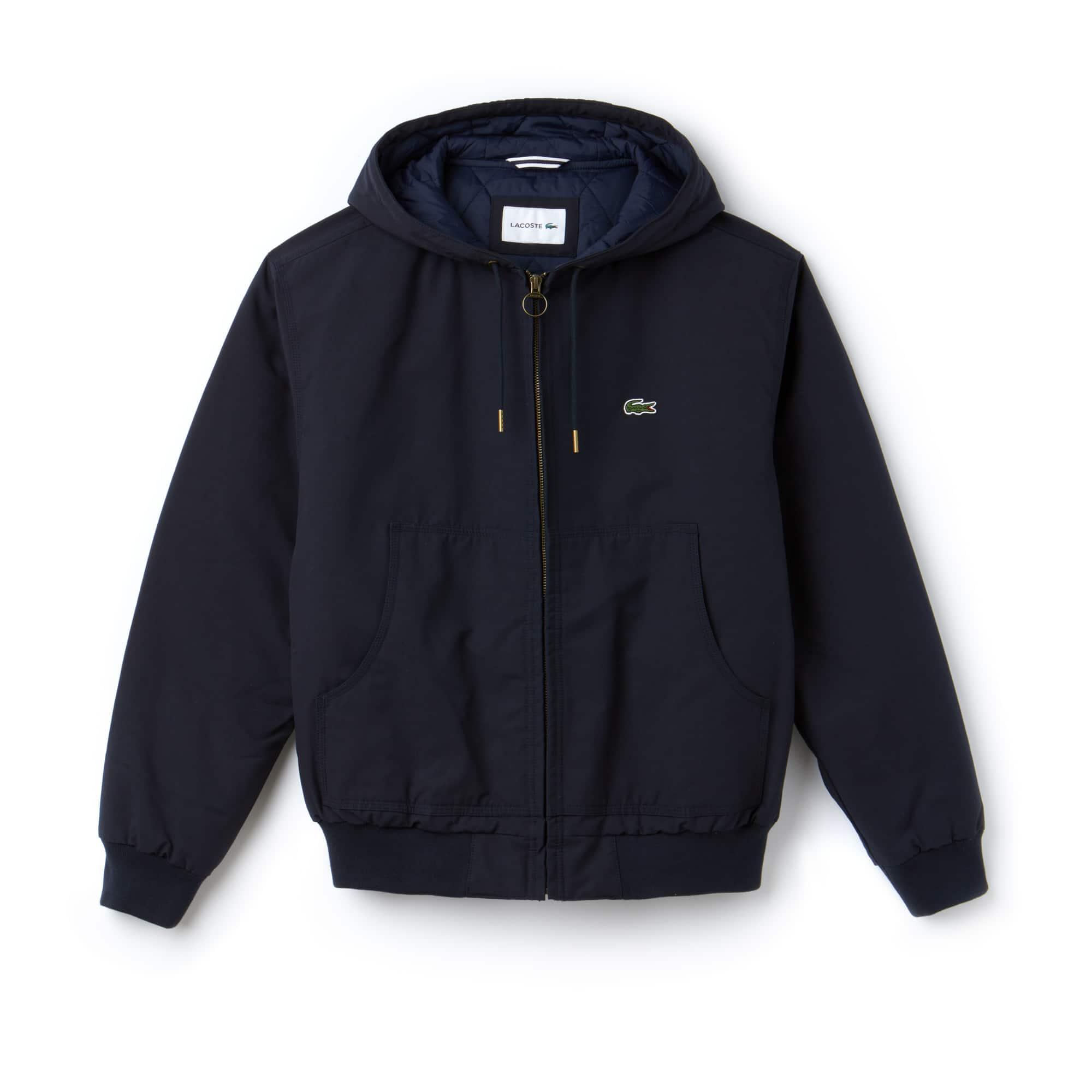 男式短款连帽拉链绗缝棉斜纹夹克
