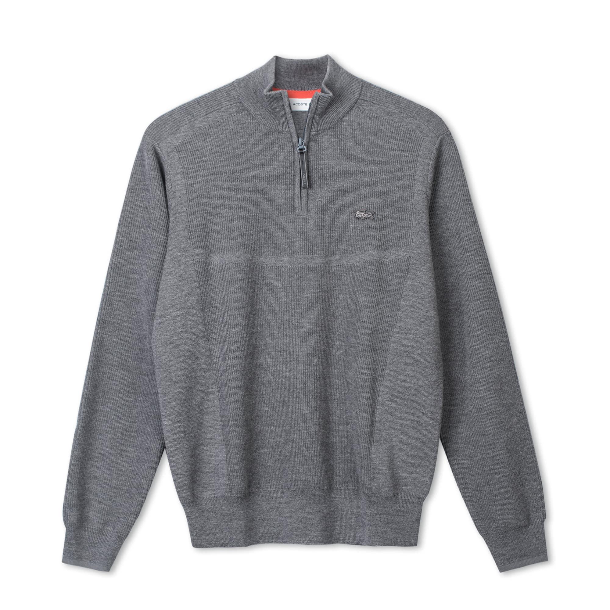 Lacoste Motion系列男士拉链立领罗纹羊毛衫