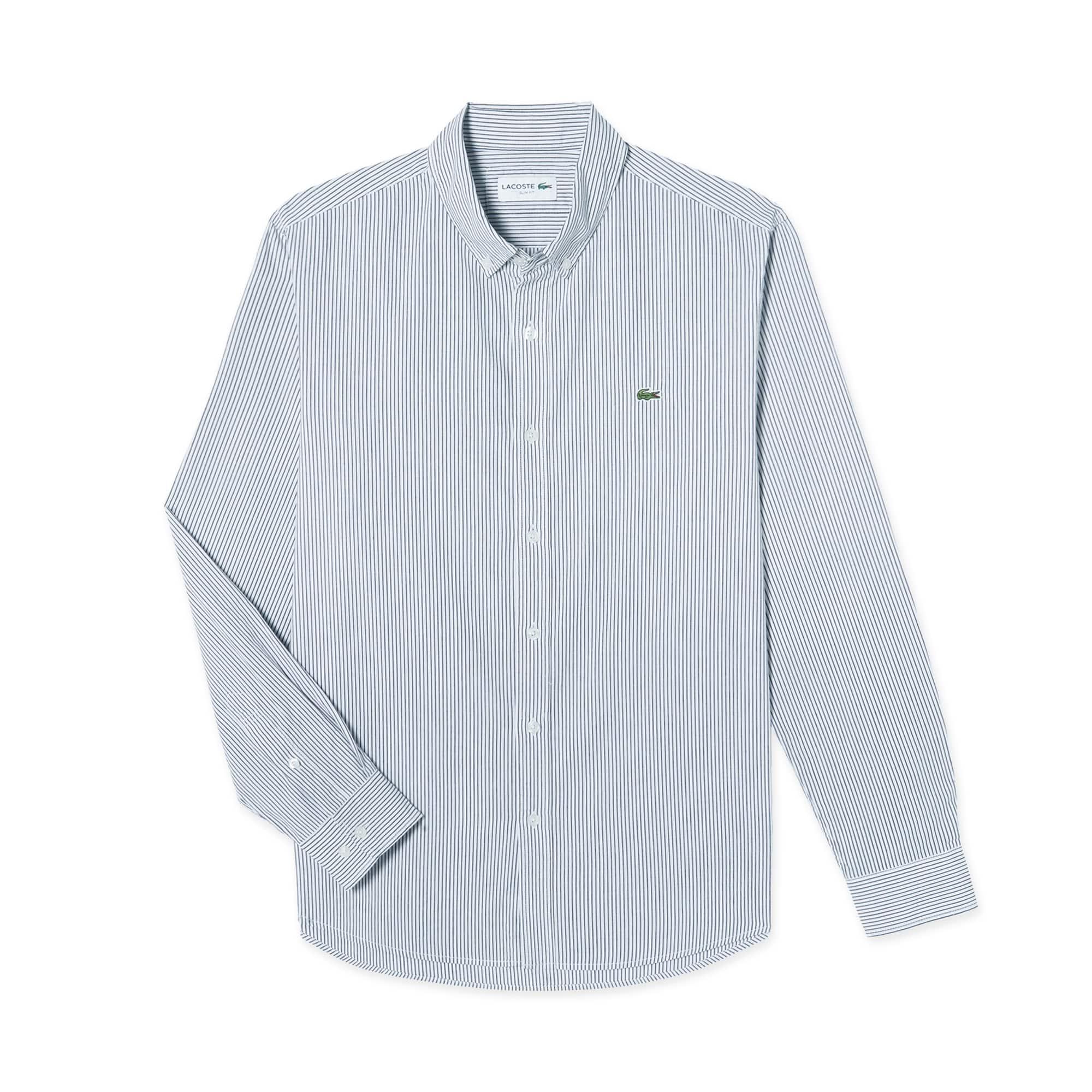(남성) 라코스테 세로 스트라이프 슬림 셔츠