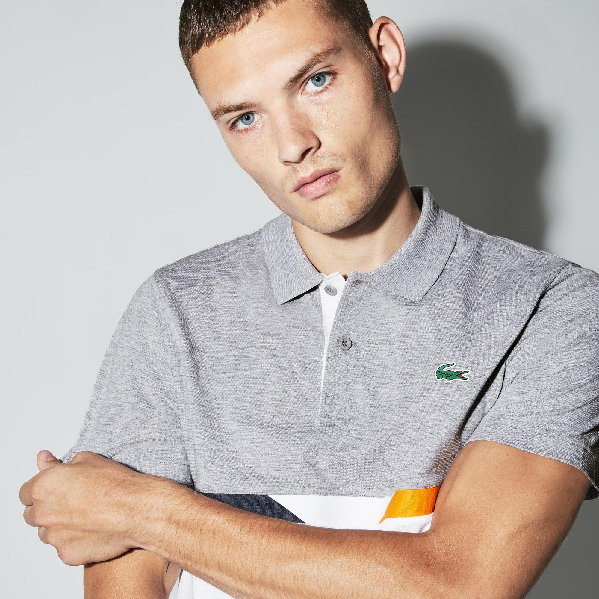 Lacoste Sport系列色块拼接轻质棉男士网球polo衫