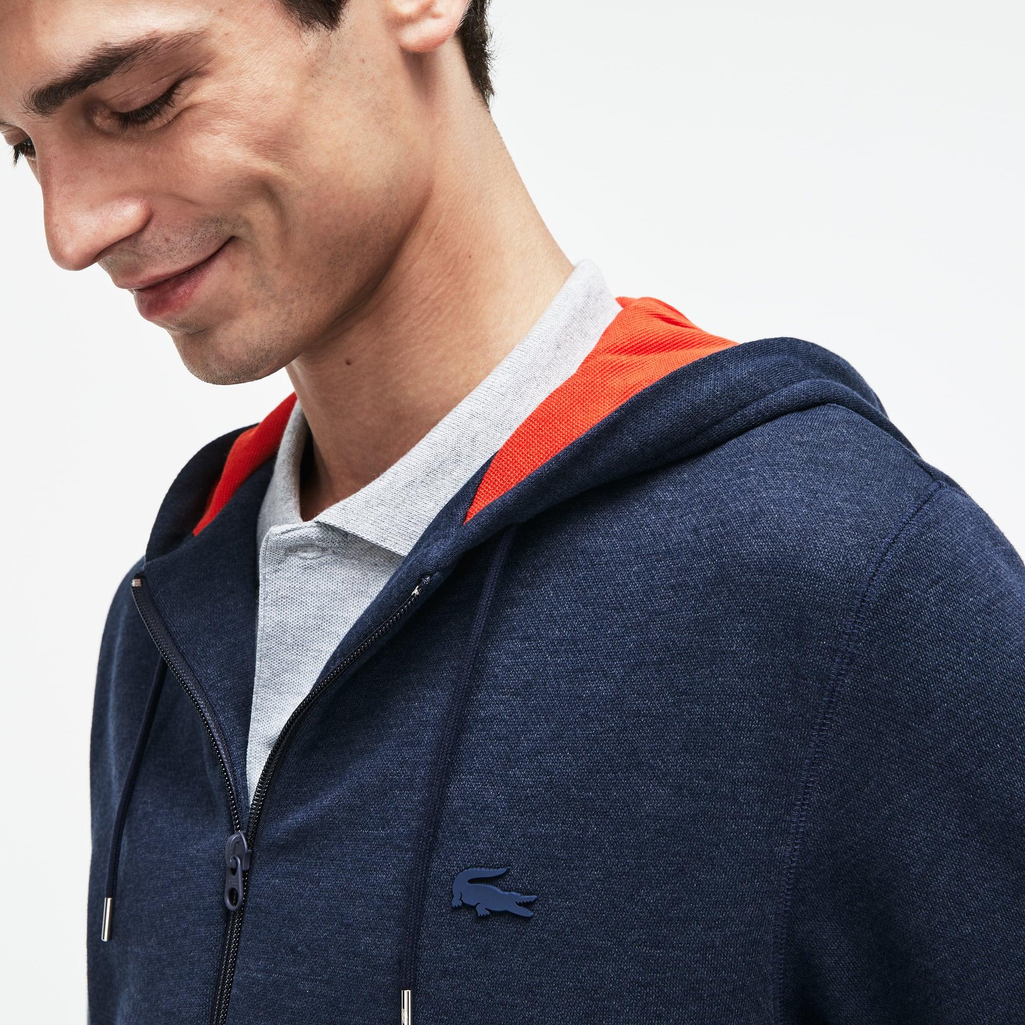 Lacoste Motion系列男士拉绒布连帽拉链运动衫